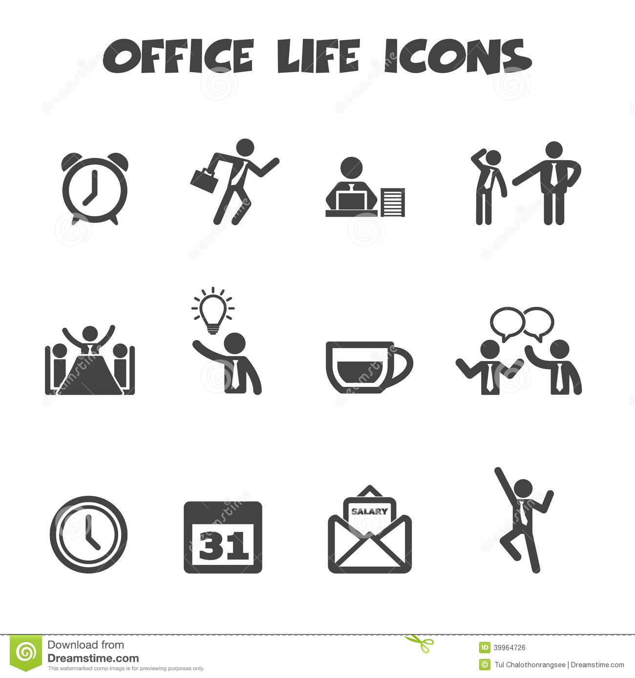 Icones De La Vie De Bureau Illustration De Vecteur