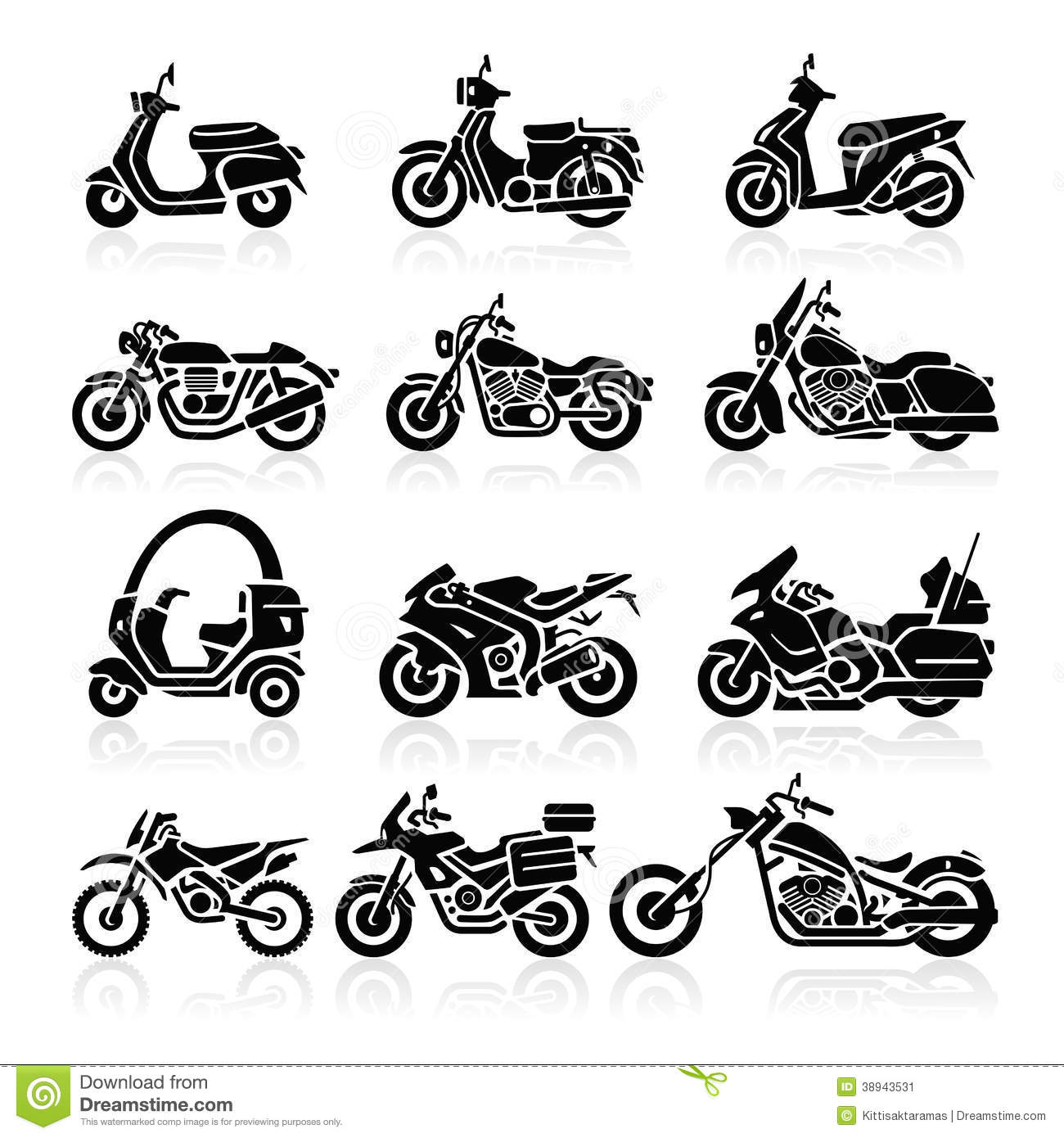 Icones De Moto Illustration De Vecteur Illustration De