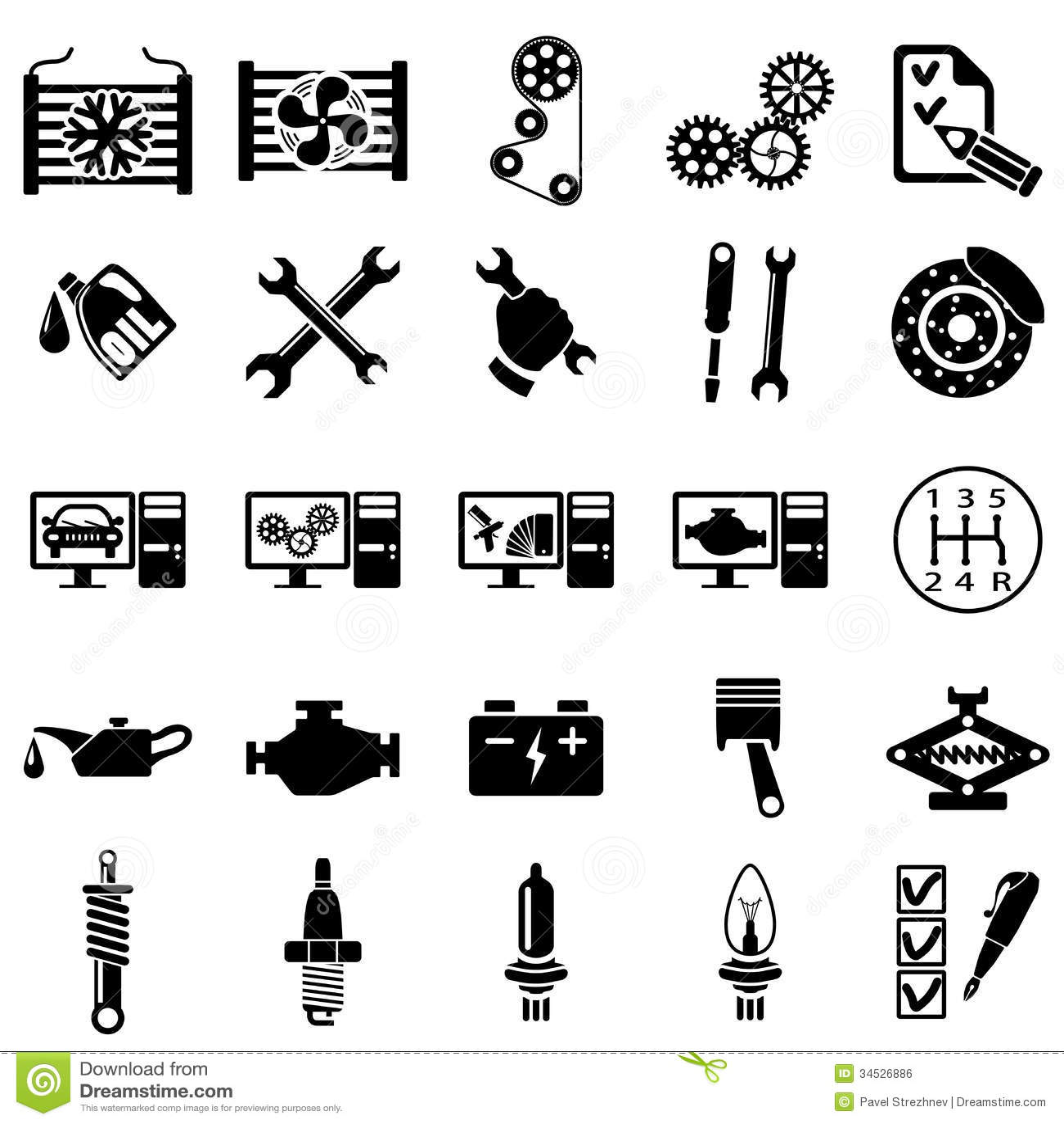 Icones De Reparation Automatique Illustration De Vecteur