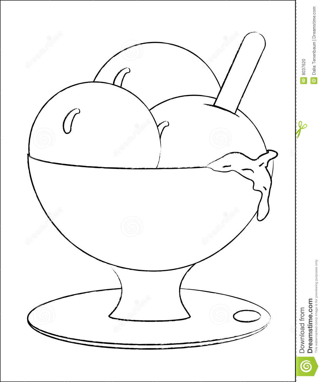 Ice Cream In A Bowl Stock Vector Image Of Doodle