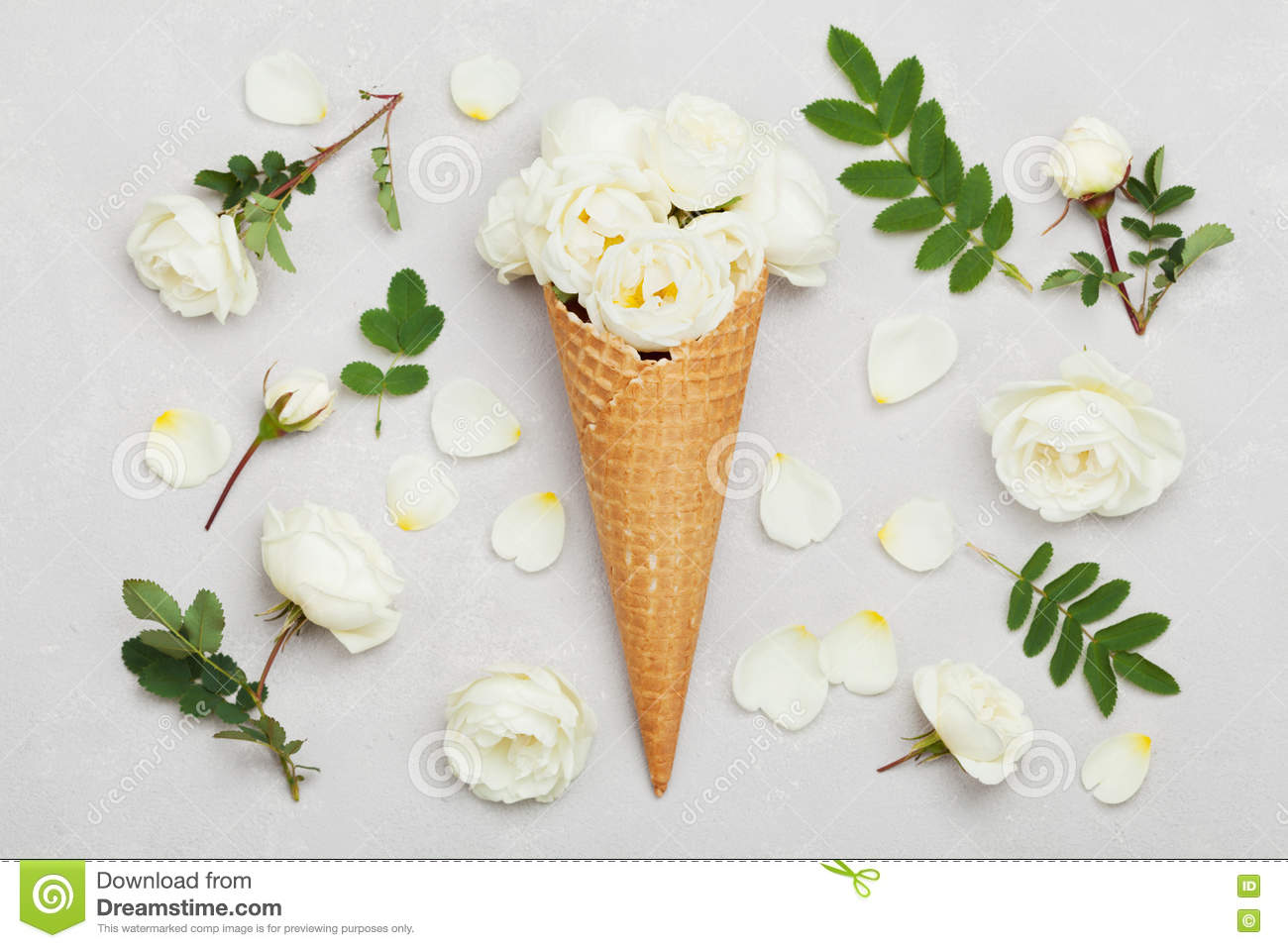 Ice Cream Of Rose Flowers In Waffle Cone On Light Gray