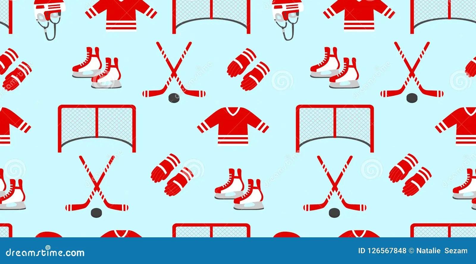 Ice Hockey Seamless Pattern Vector Background Winter