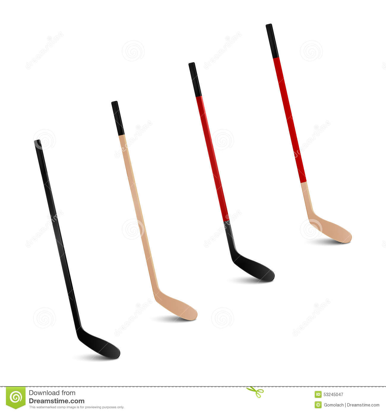 Ice Hockey Sticks Vector Set Stock Vector