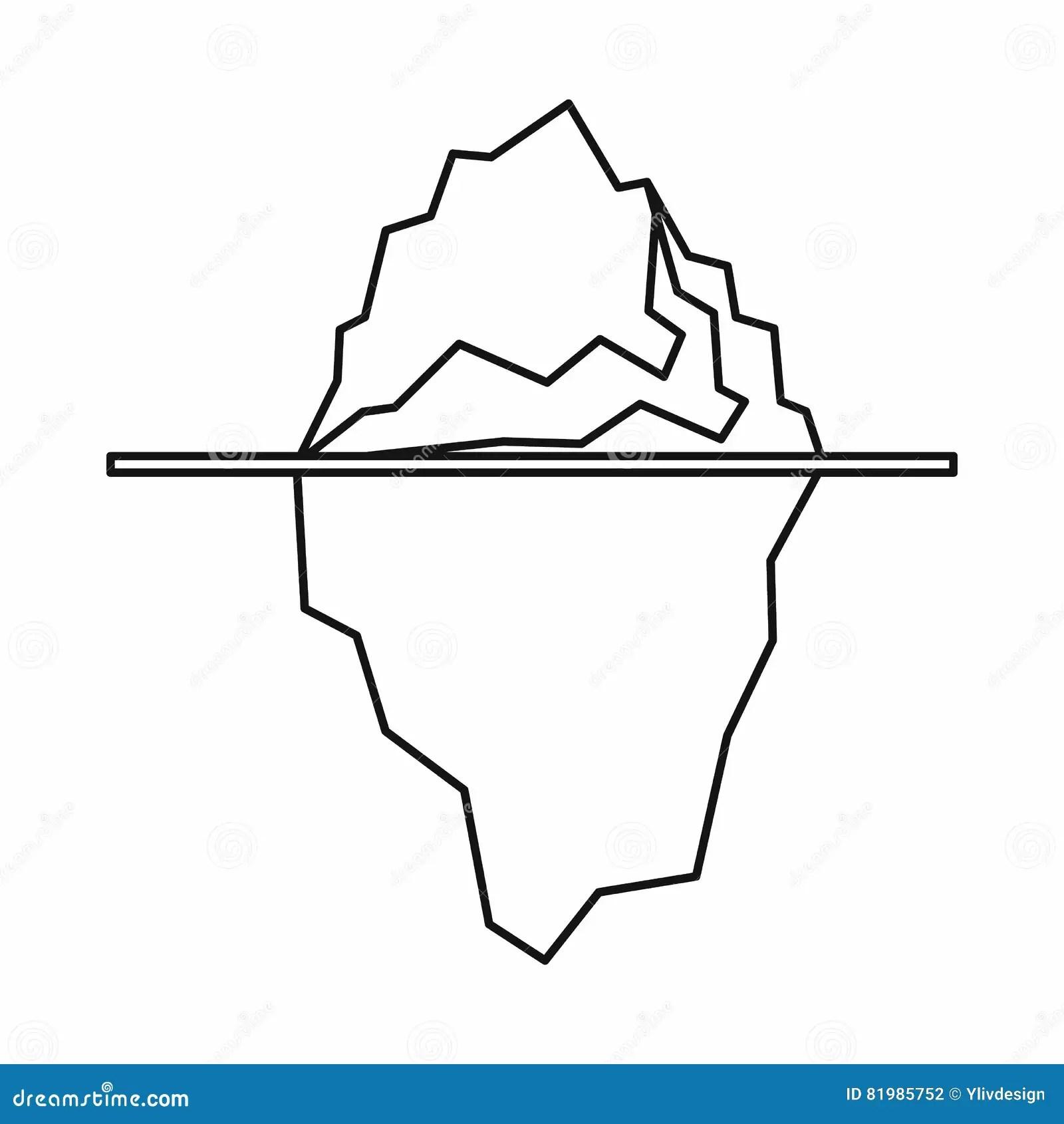 Iceberg Icon Outline Style Stock Vector