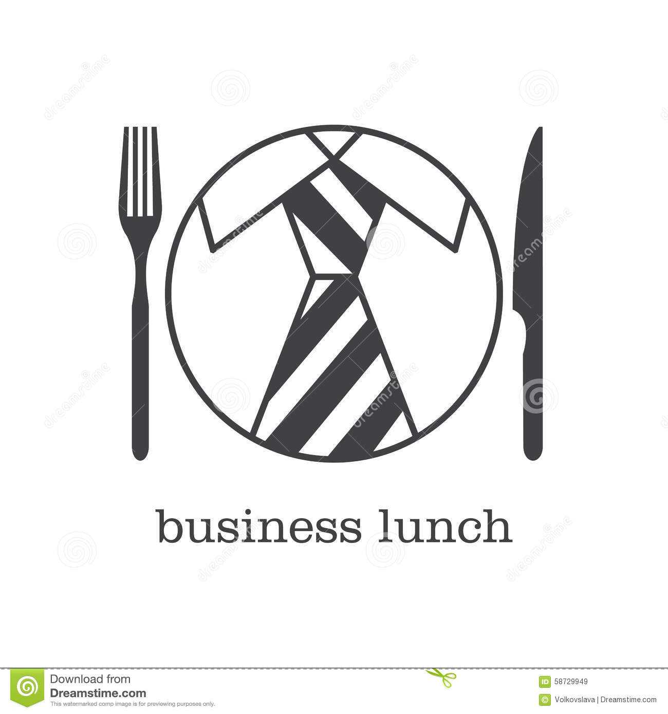 Design Business Lunch And Icon Set Flat Design Cartoon