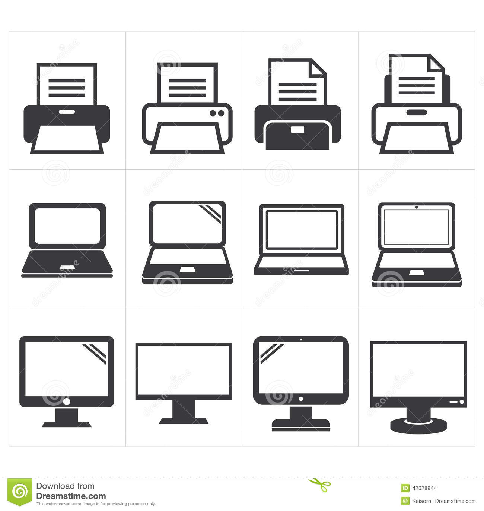 Icon Office Equipment Fax Laptop Printer Stock Vector