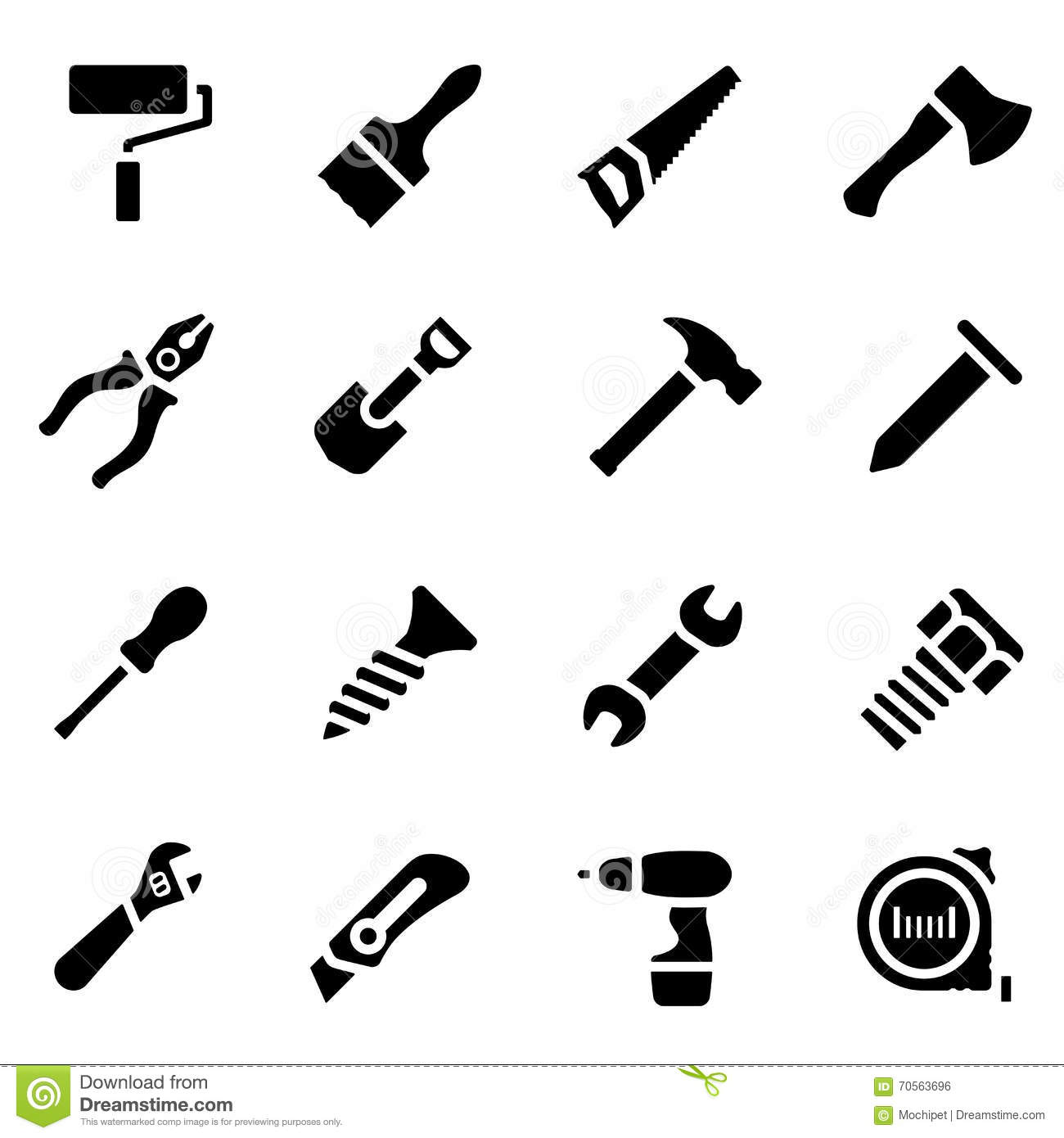 Icon Set Of Black Simple Silhouette Of Work Tools In Flat