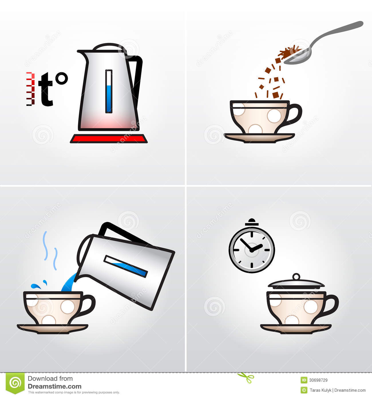 Icon Set For Process Of Brewing Tea Coffee Etc Stock