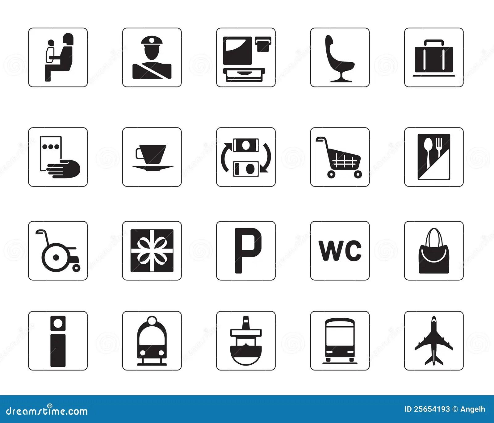 Icone Dell Aeroporto Del Bus E Della Ferrovia Impostate