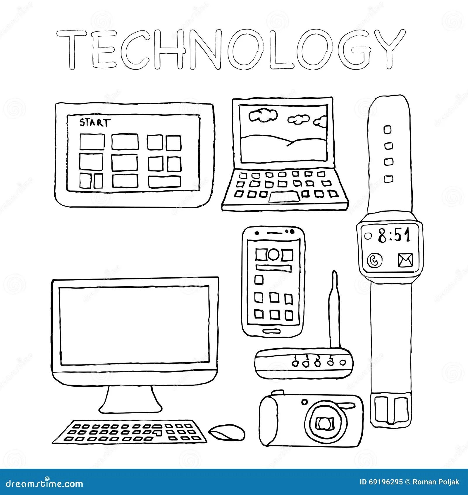 Icone Di Tecnologia Disegnate A Mano Macchina