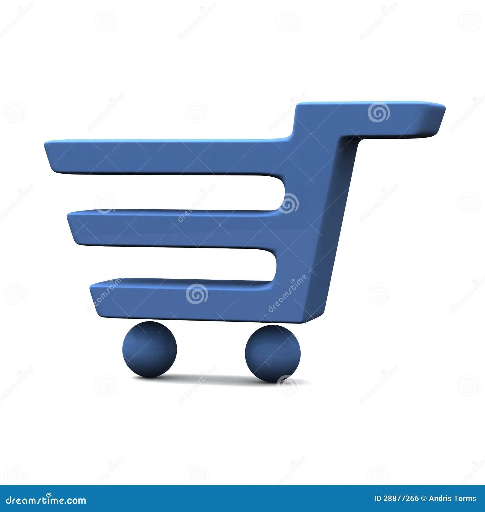 Icono Azul 3d Del Carro De La Compra Stock De Ilustracin