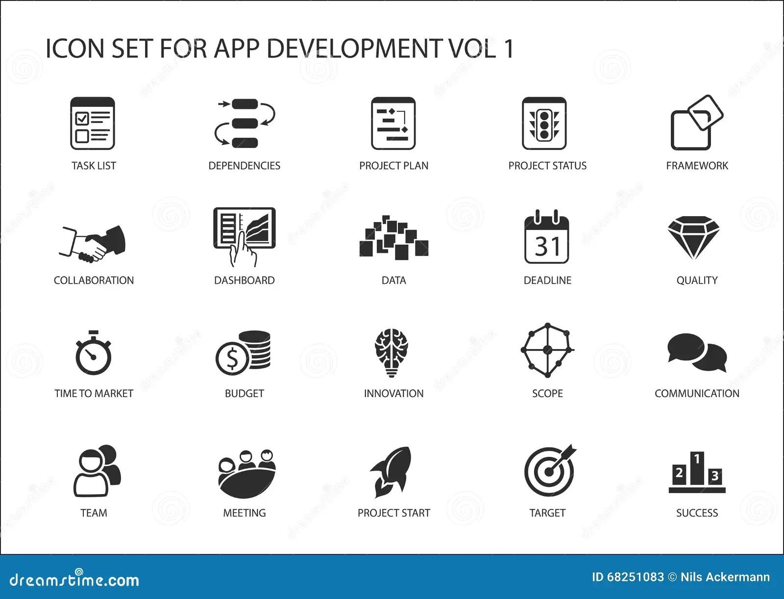 Icono Del Vector Fijado Para El App El Desarrollo De