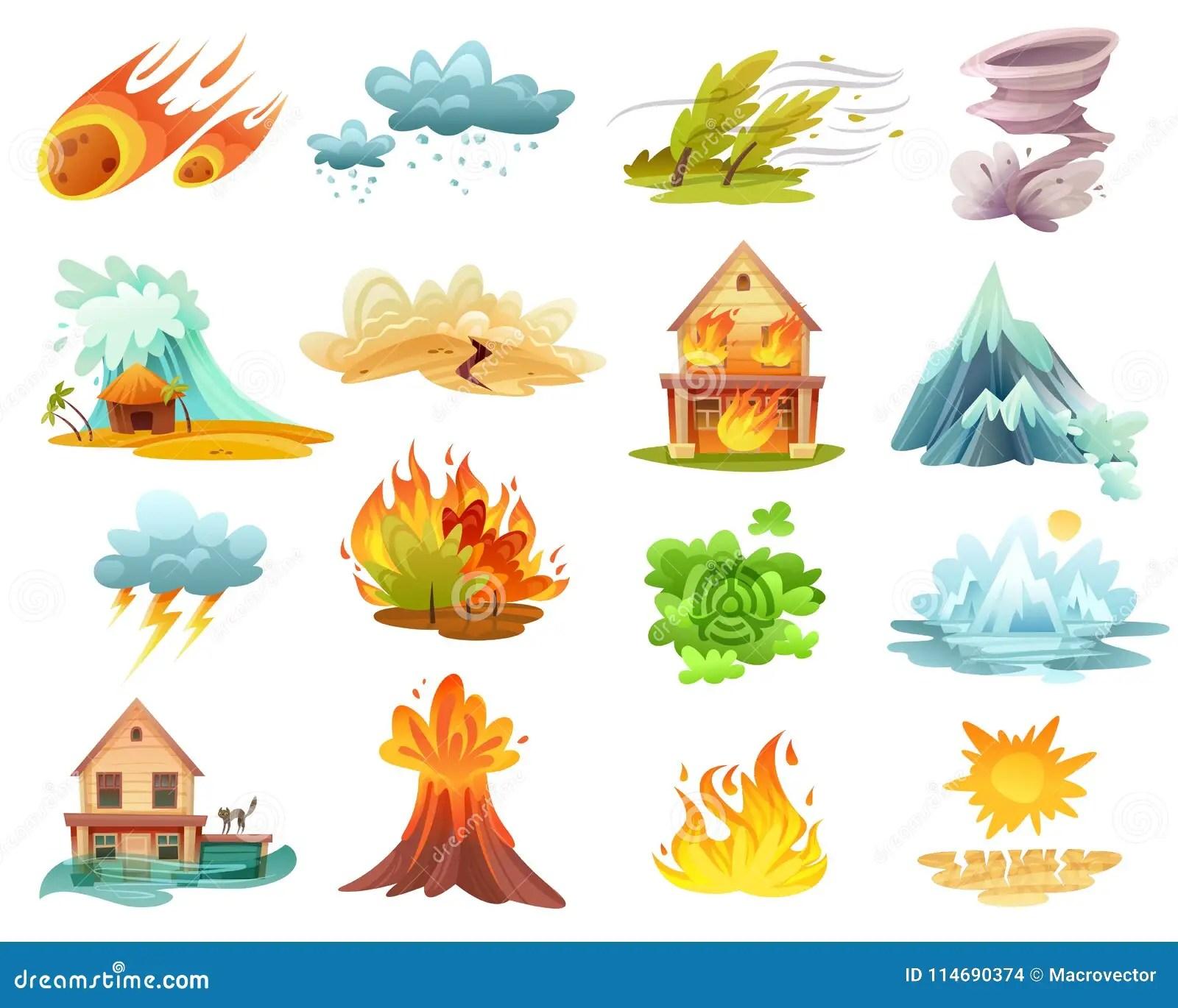 Iconos De La Historieta De Los Desastres Naturales Fijados