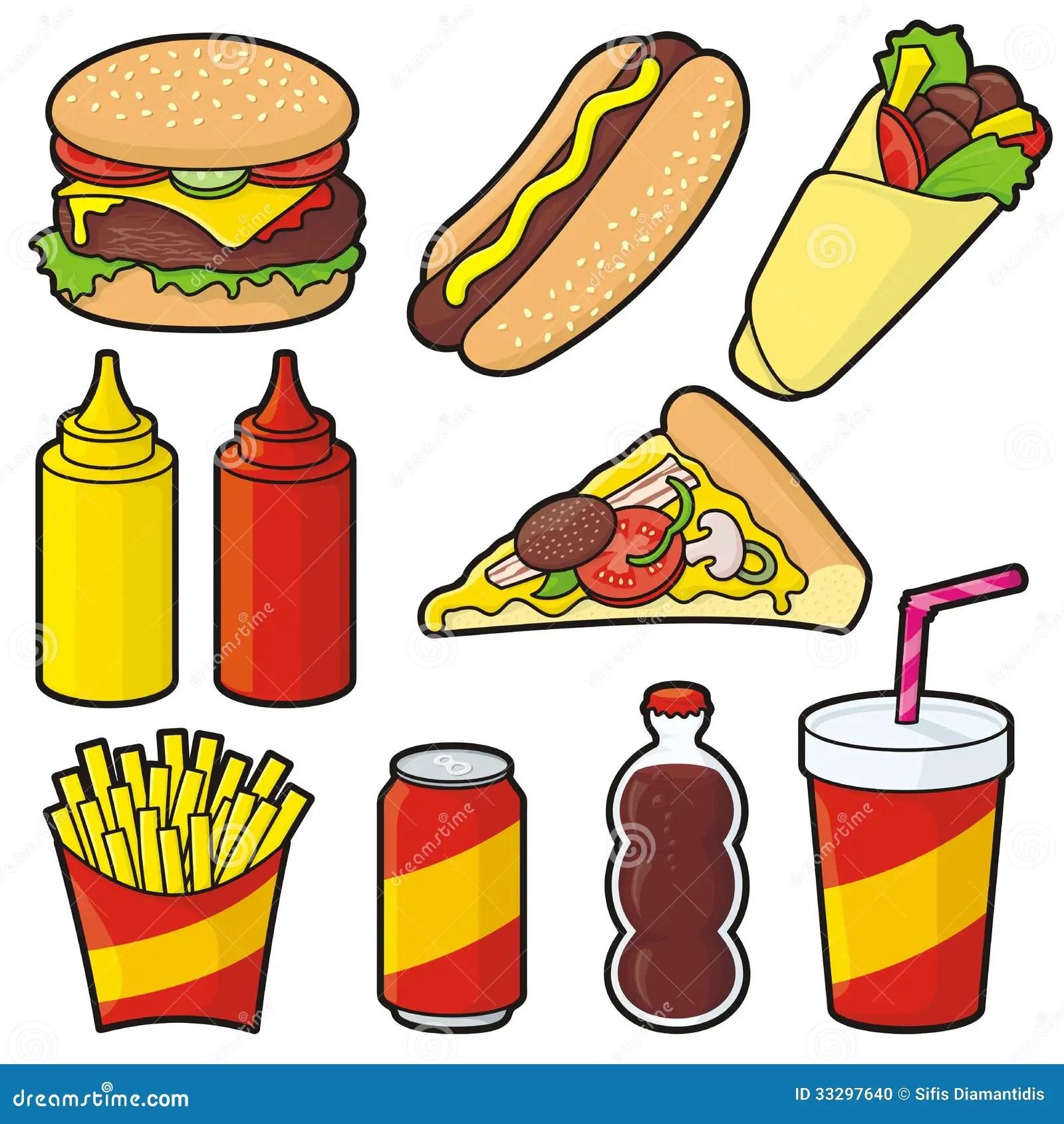 Iconos De Los Alimentos De Preparacion Rapida Ilustracion