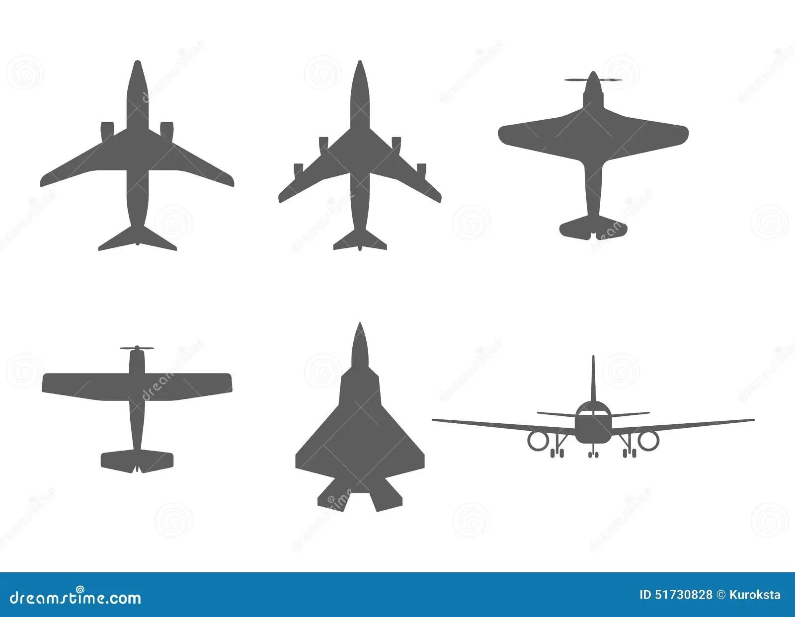 Iconos Del Aeroplano Avion De Pasajeros Avion De Combate