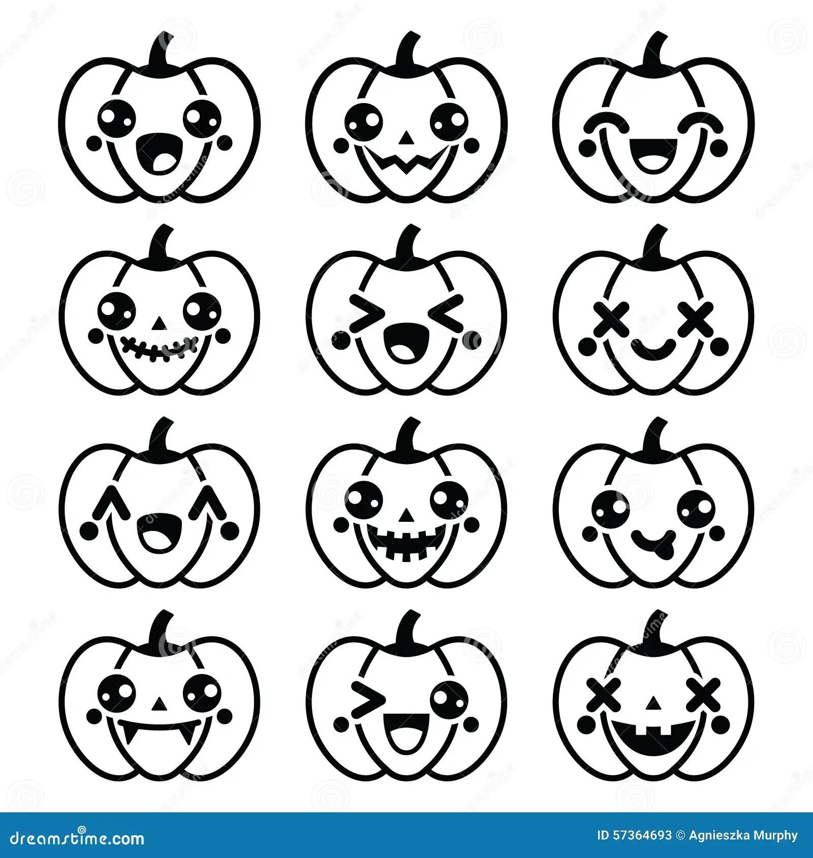 Iconos Negros Lindos De La Calabaza De Halloween Kawaii