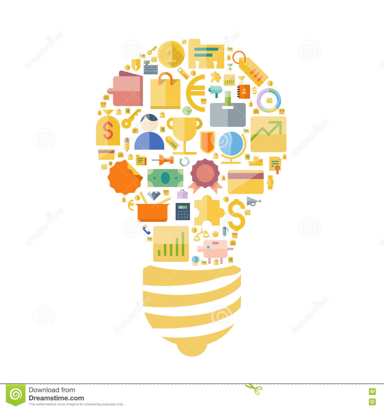 Icons For Business And Finance Arranged In Light Bulb