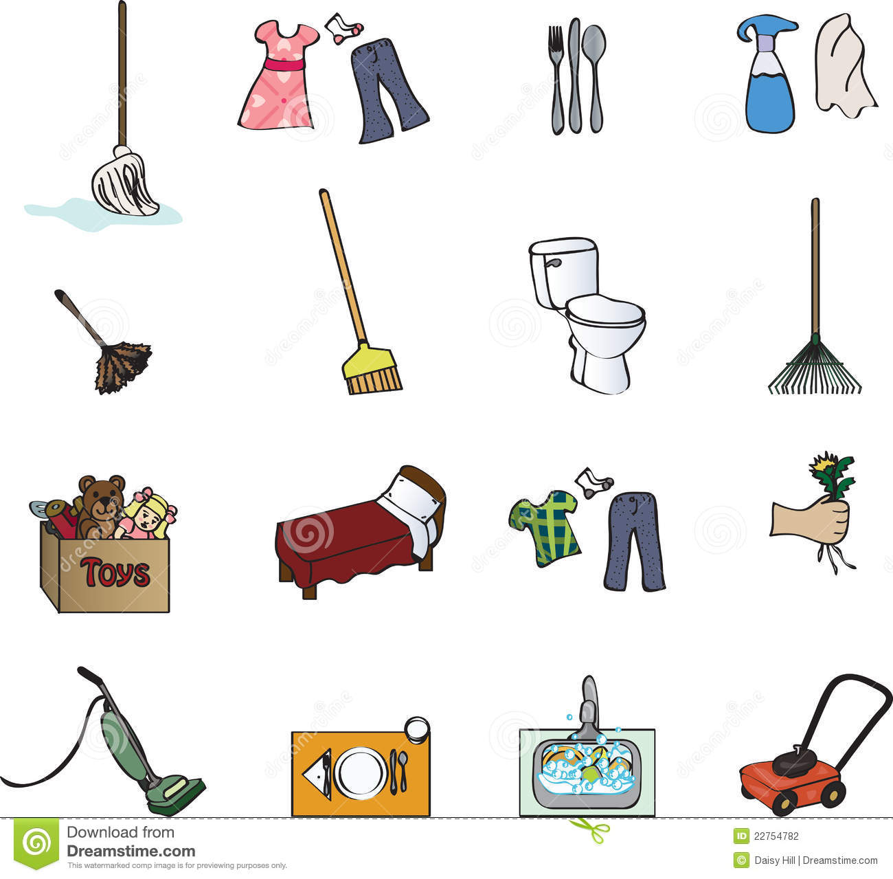 Icons For A Chore Chart Stock Photography