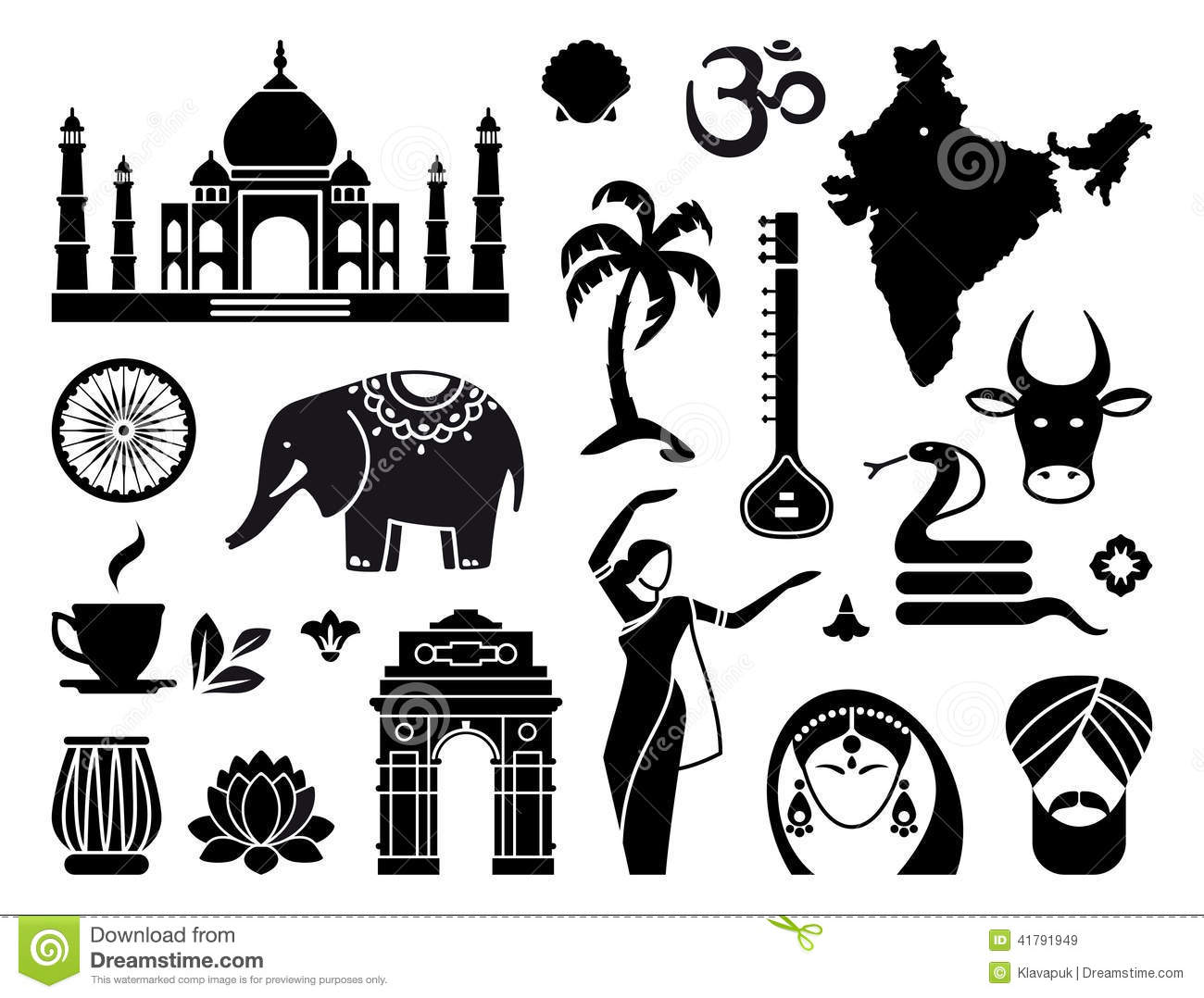 Icons Of India Stock Vector Illustration Of Drum Lotus