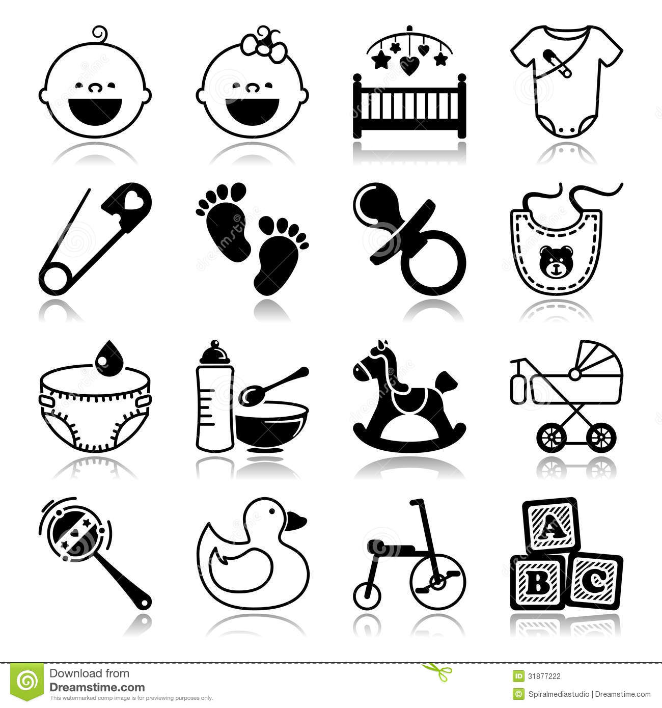Icons Set With Reflection Babies Stock Vector
