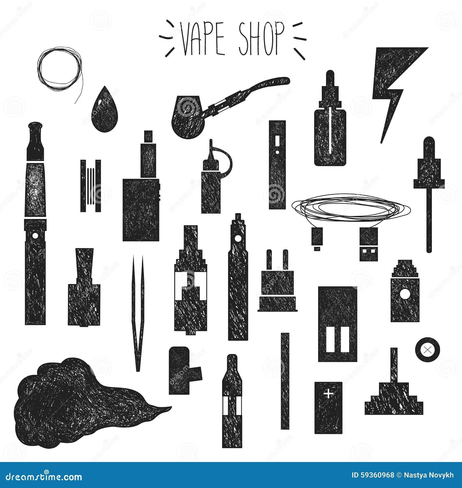 Icons Vape Hand Graphics Stock Vector Illustration Of