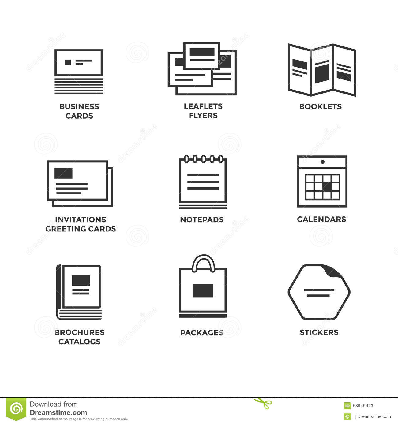 Icons Of Various Print Media Stock Vector