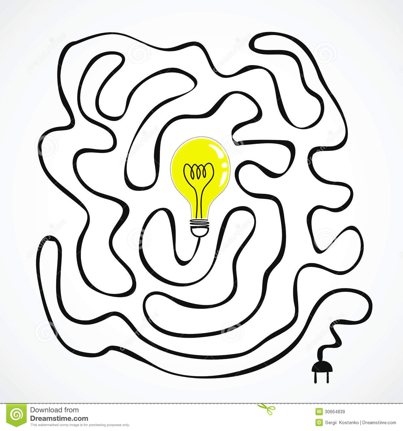 Idea Bulb With Wire Labyrinth Stock Vector