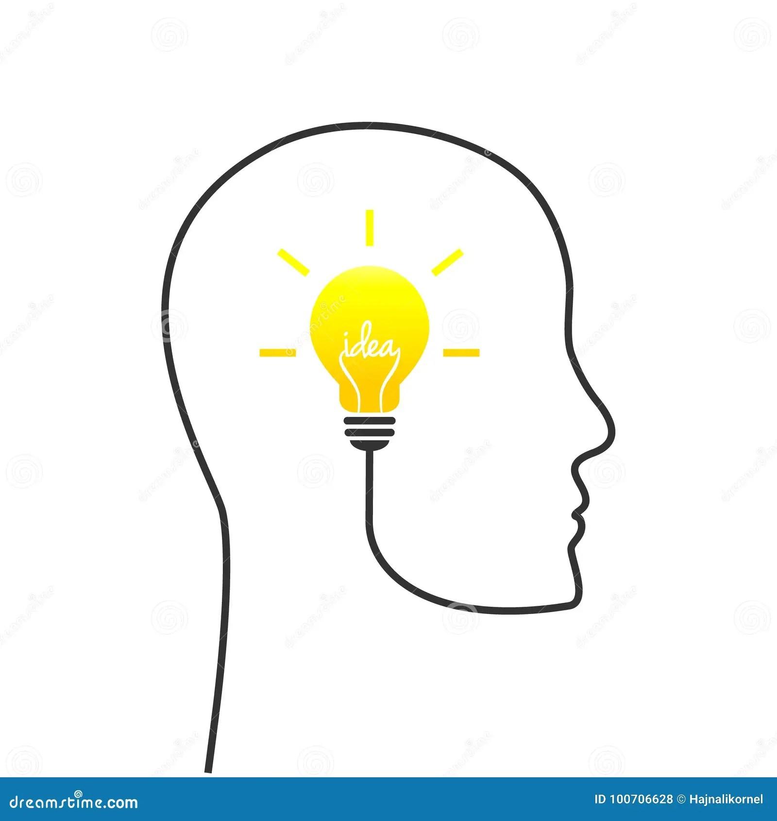 Idea Concept With Head And Lightbulb Stock Vector