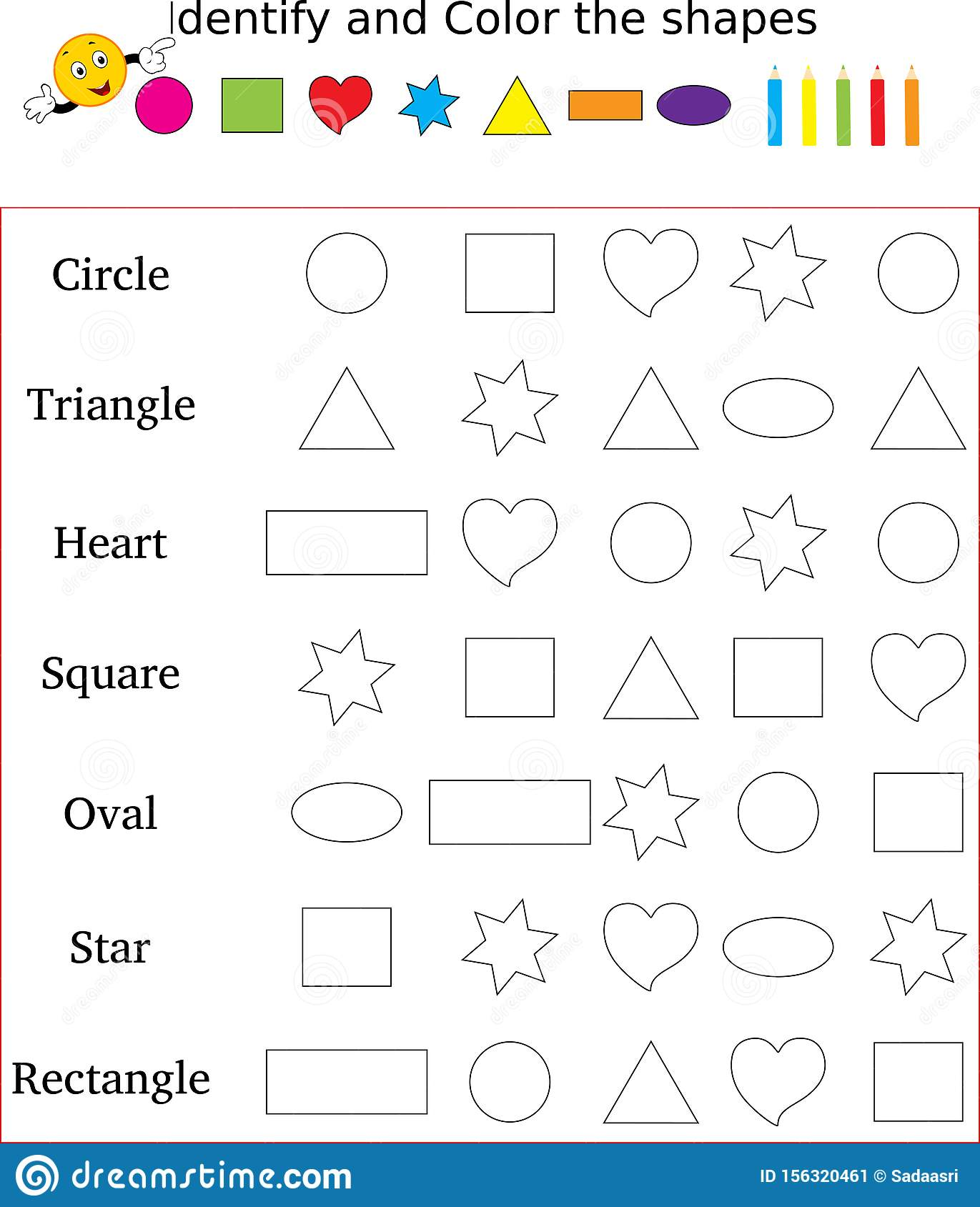 Worksheet Identify Amp Count Basic Shapes Cartoon Vector