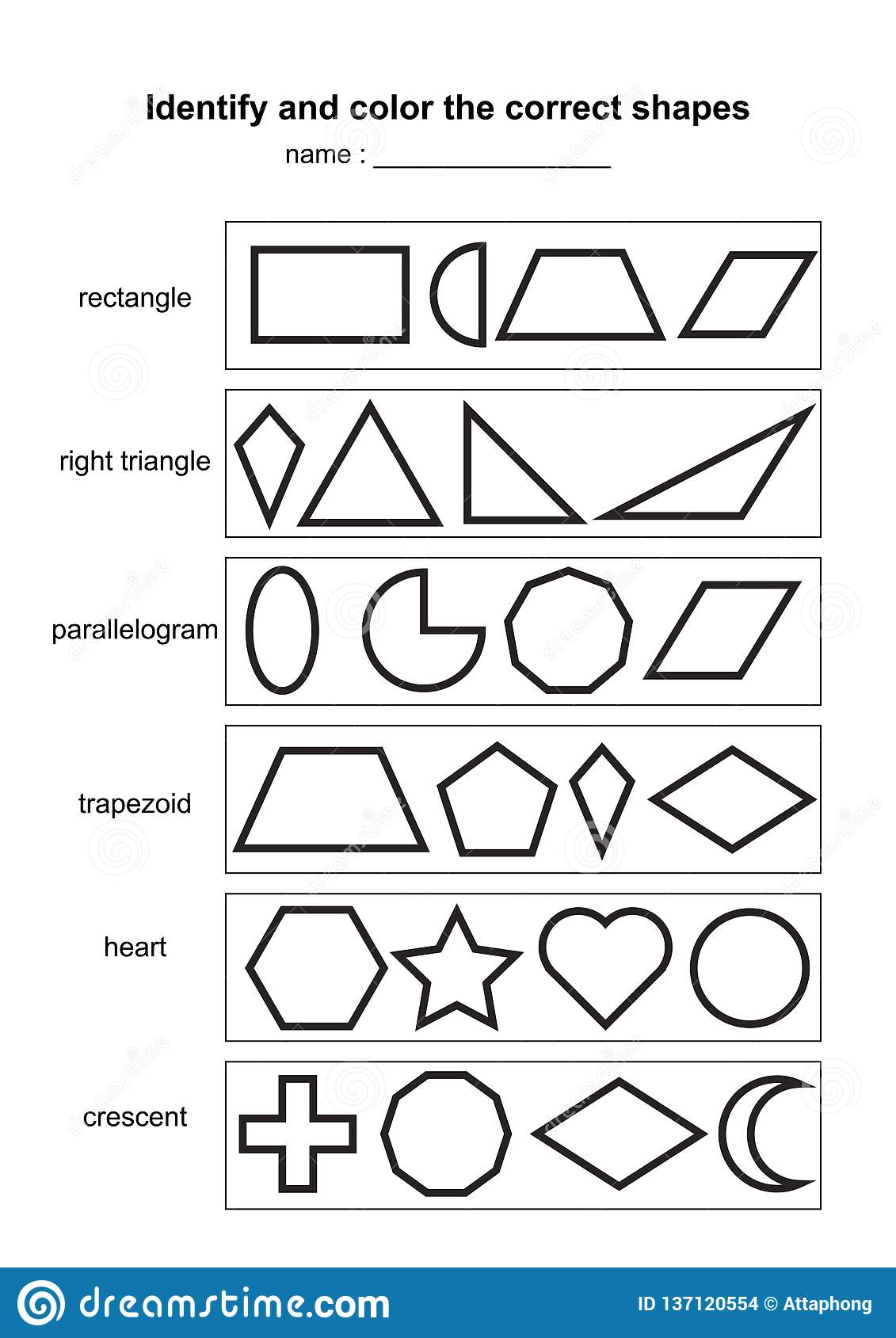 Identify And Color The Correct Shapes Educational