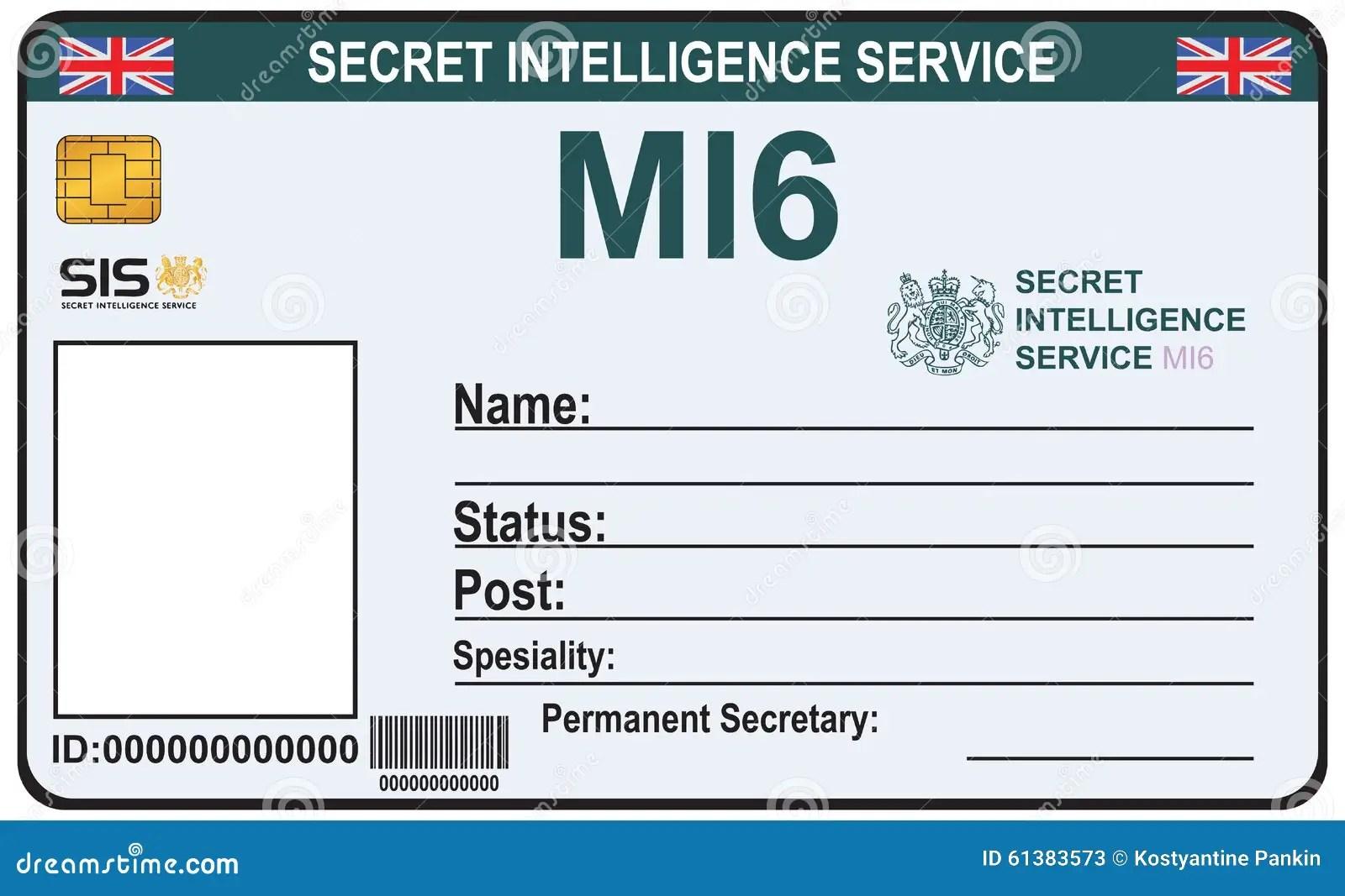 Identity A Secret Agent Of Mi 6 Stock Vector