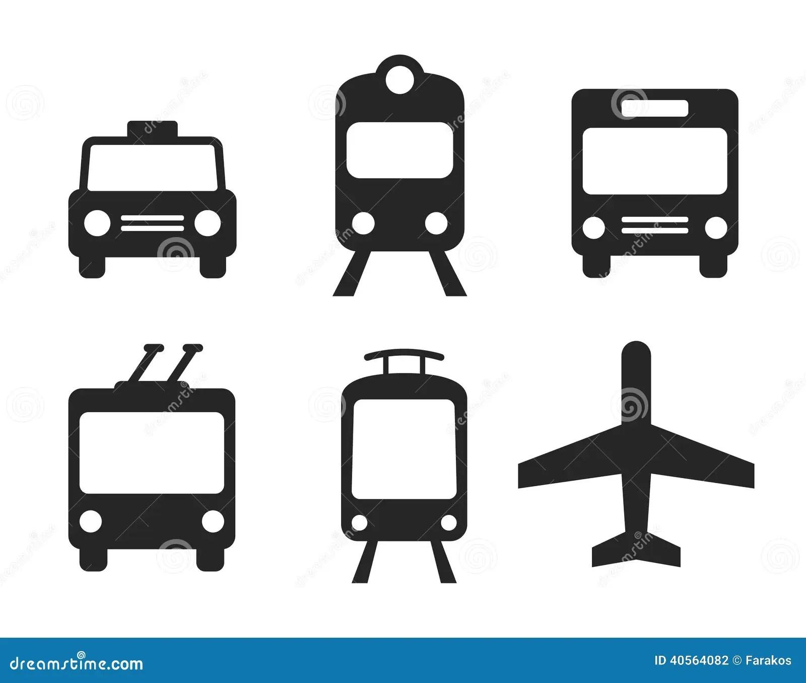 Ikony Ustawiaj Transport Ilustracja Wektor Ilustracja