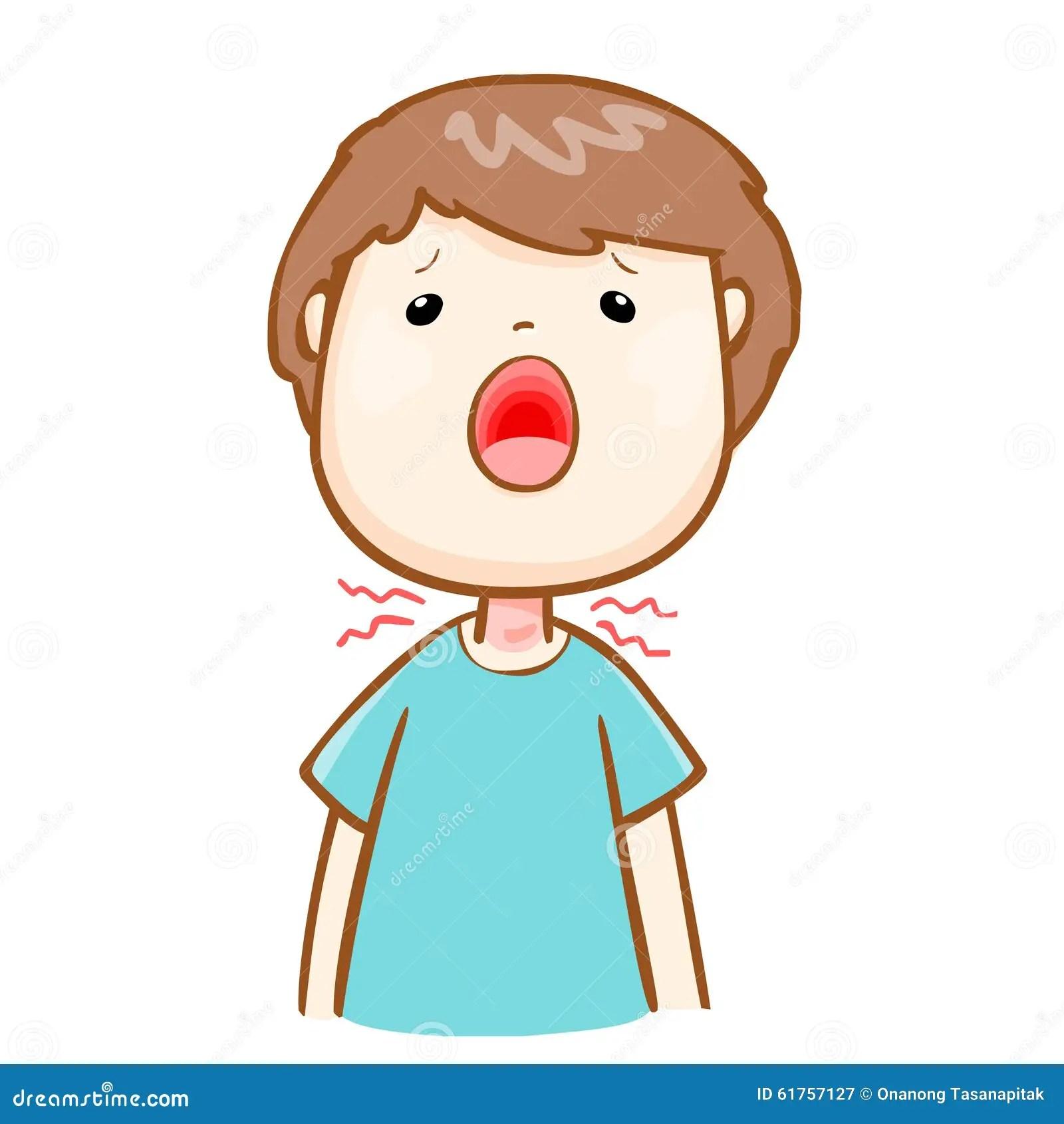 Ill Man Sore Throat Cartoon Stock Vector