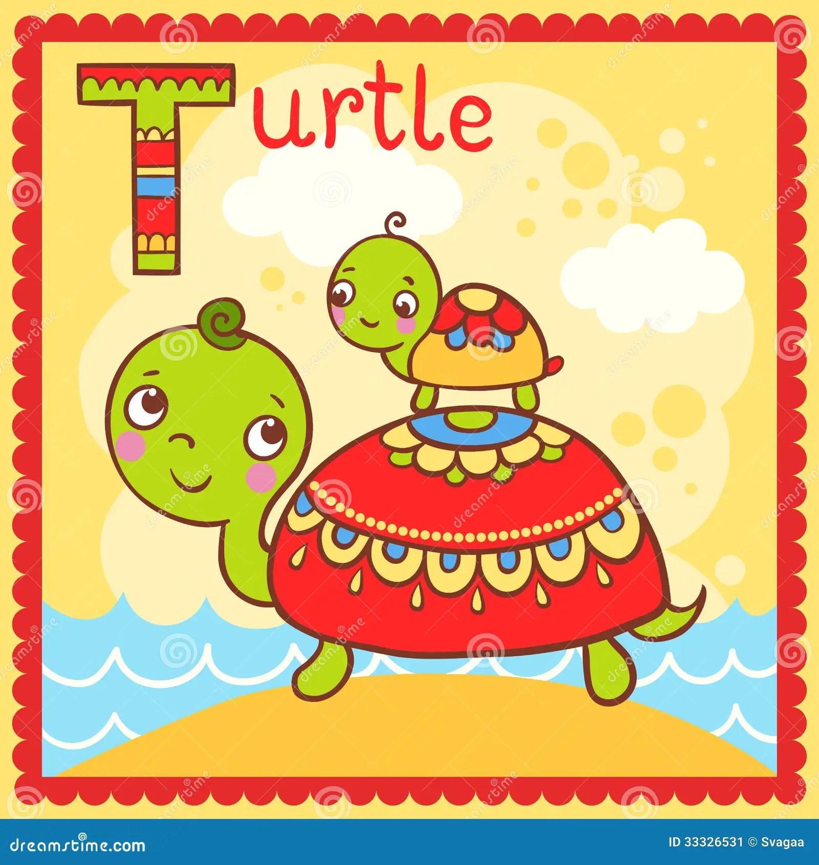 Alphabet Letter S Sand T Turtle Illustration Vector