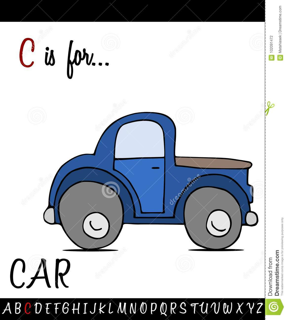 Illustrated Vocabulary Worksheet Card With Cartoon Car