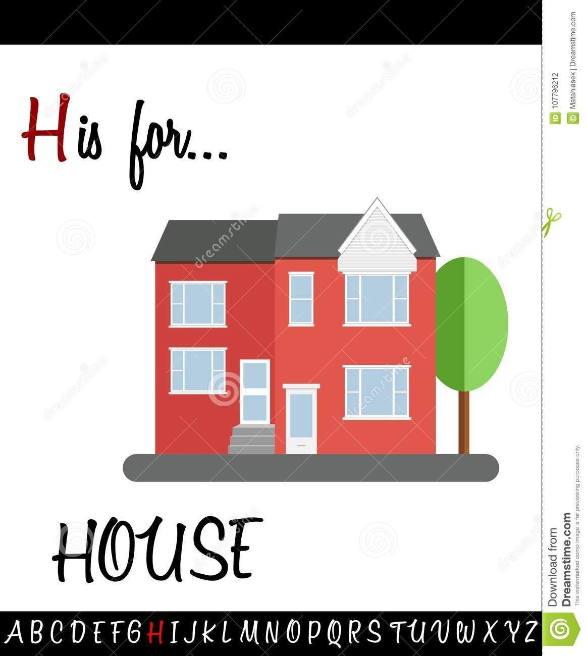 Illustrated Vocabulary Worksheet Card With Cartoon House