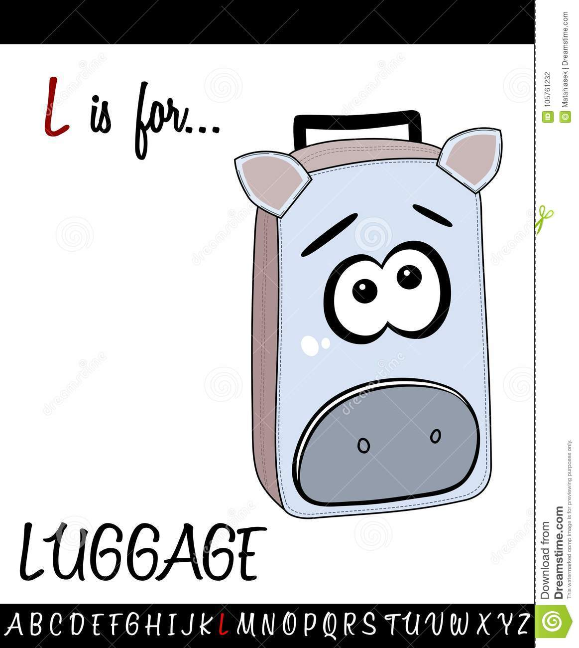 Illustrated Vocabulary Worksheet Card With Cartoon Luggage