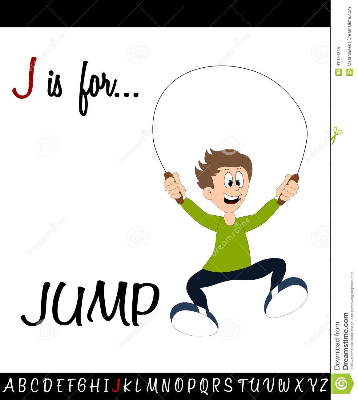 Illustrated Vocabulary Worksheet Card J Is For Jump Stock
