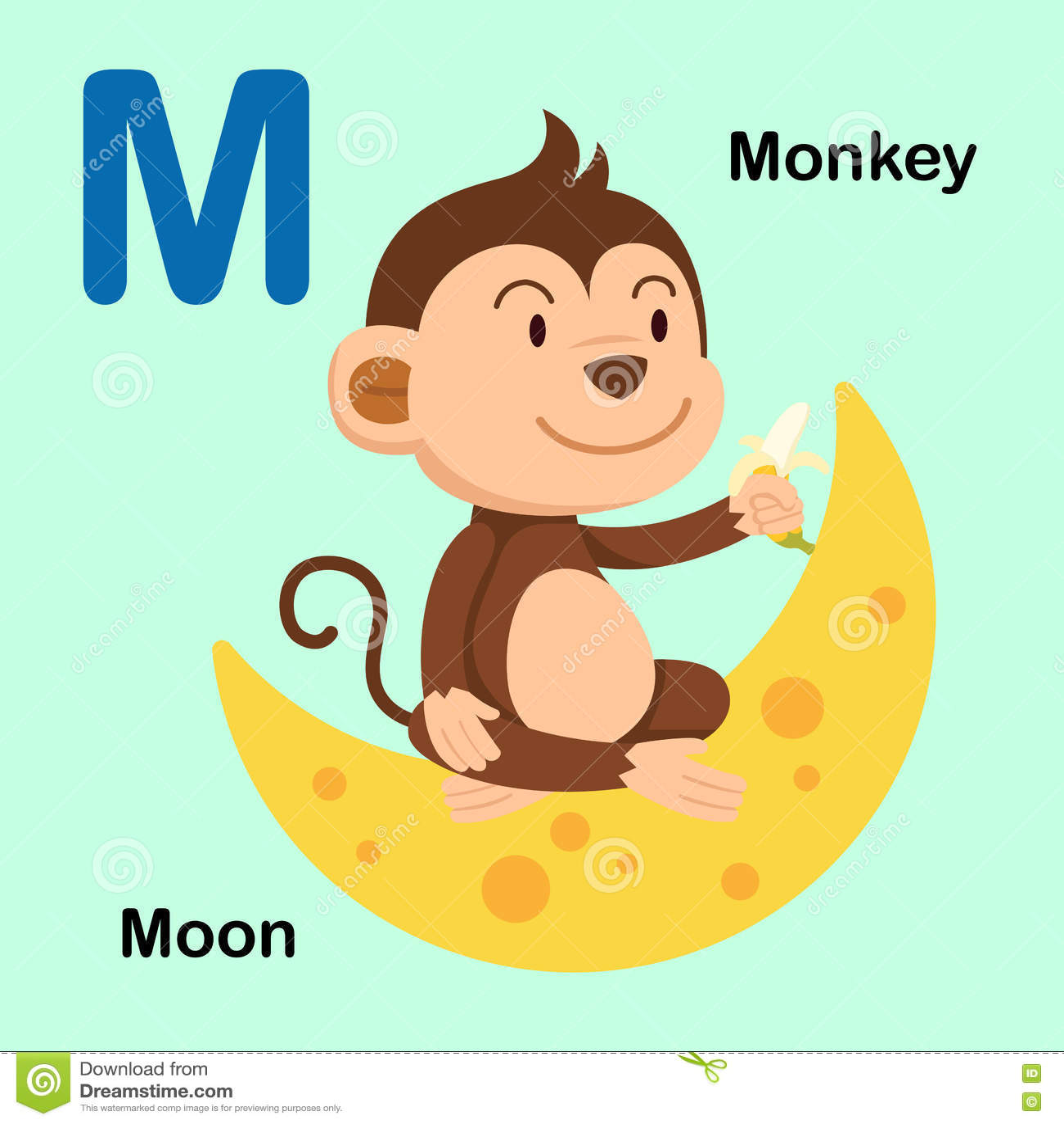 Illustration Alphabet Letter M Moon Monkey Stock Vector