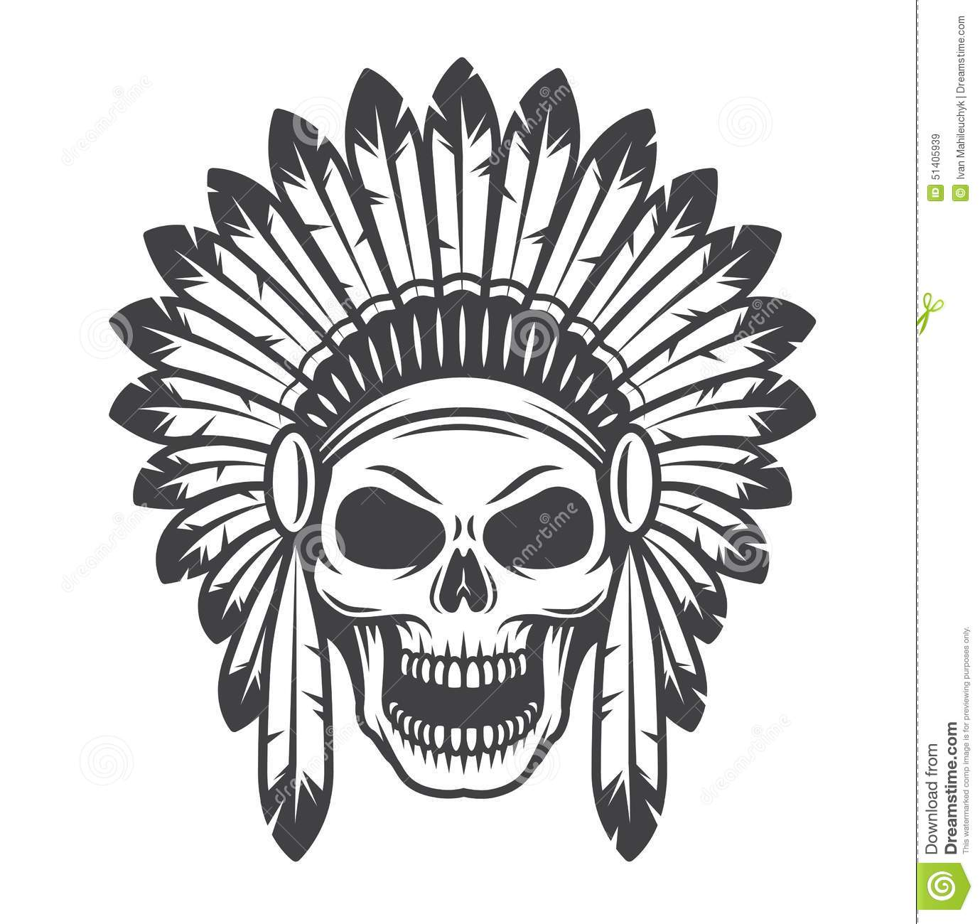 Illustration Of American Indian Skull Stock Vector