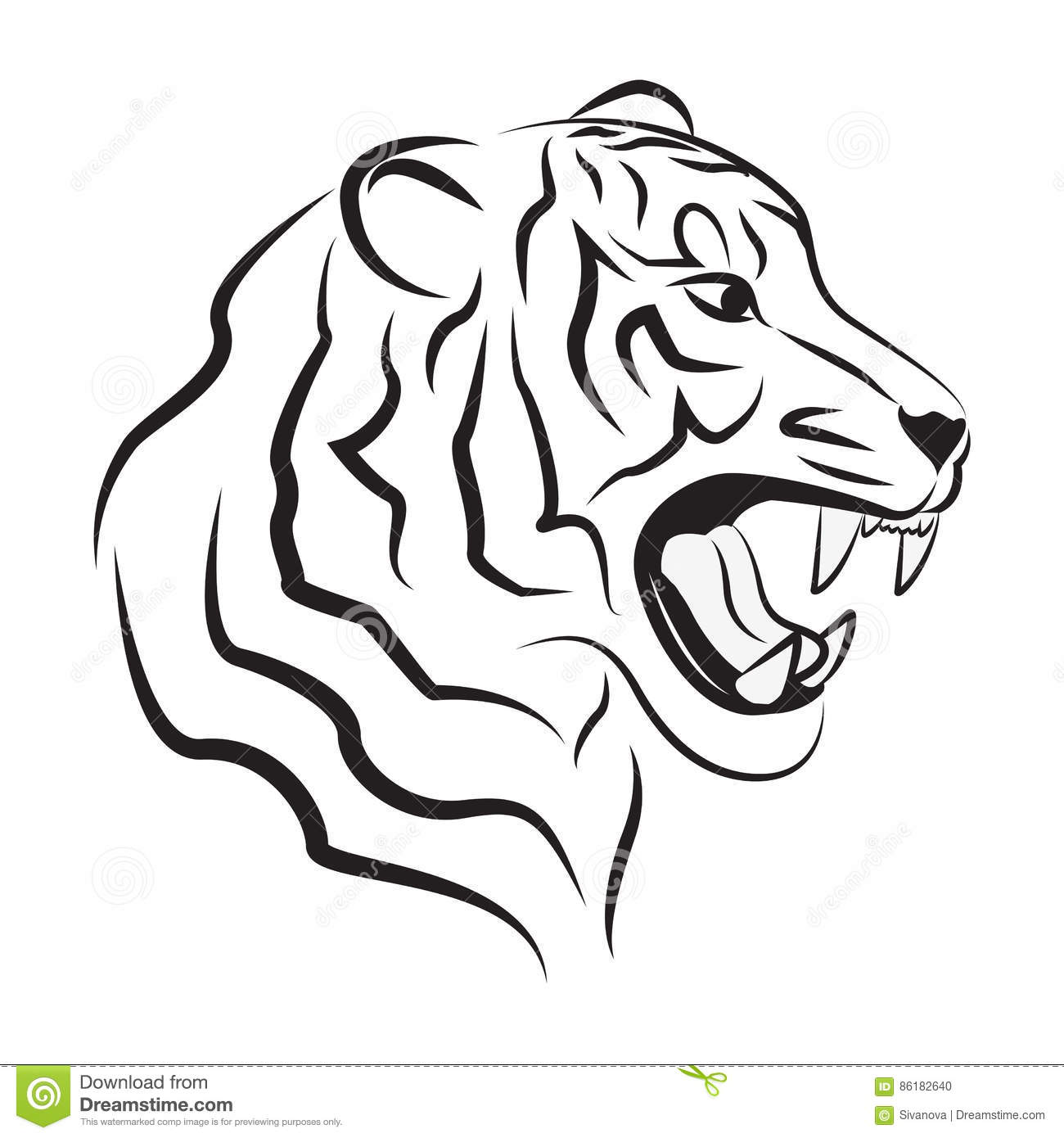 Illustration Of Angry Tiger Stock Vector