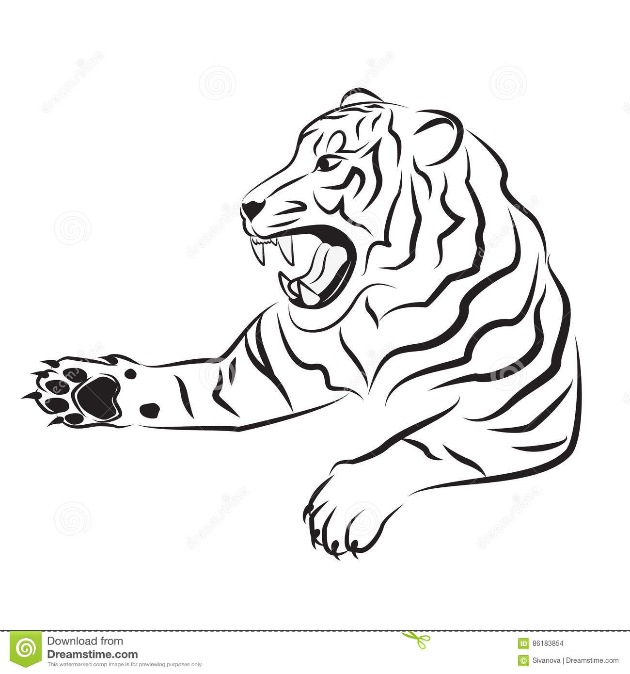 Illustration Of Angry Tiger Royalty Free Stock Photography