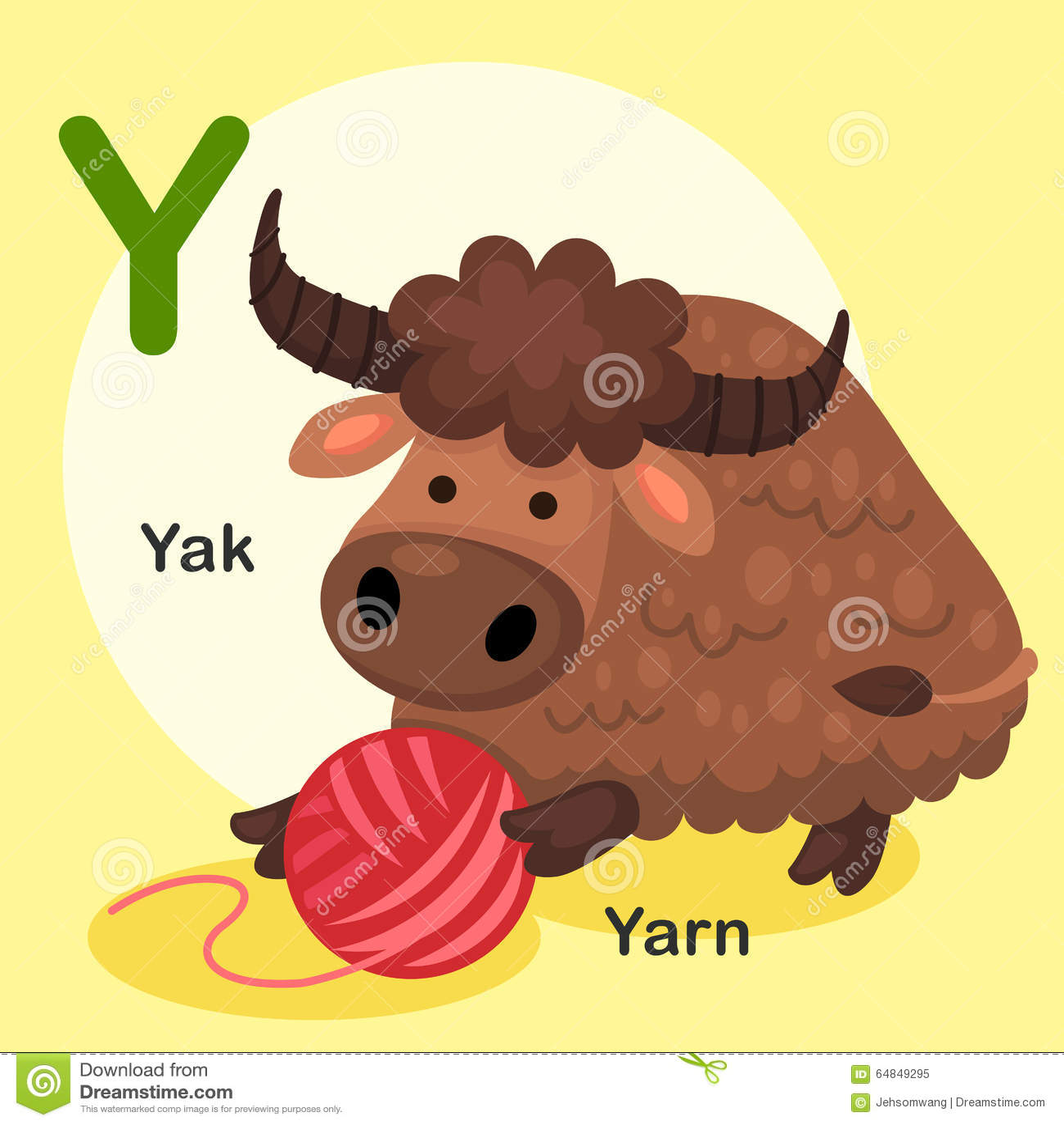 Illustration Animal Alphabet Letter Y Yak Yarn Stock Vector