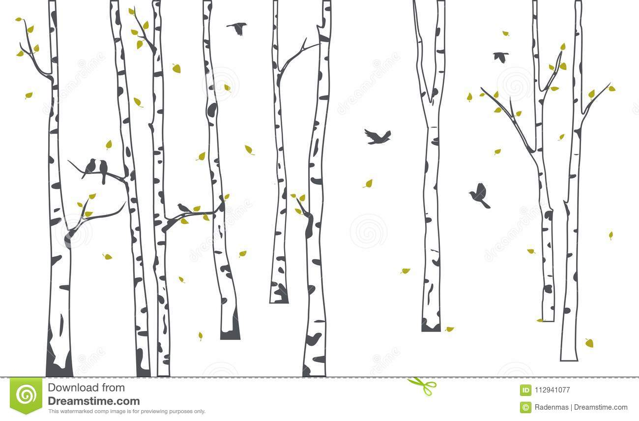 Birch Tree With Green Falling Leaves And Birds Silhouette