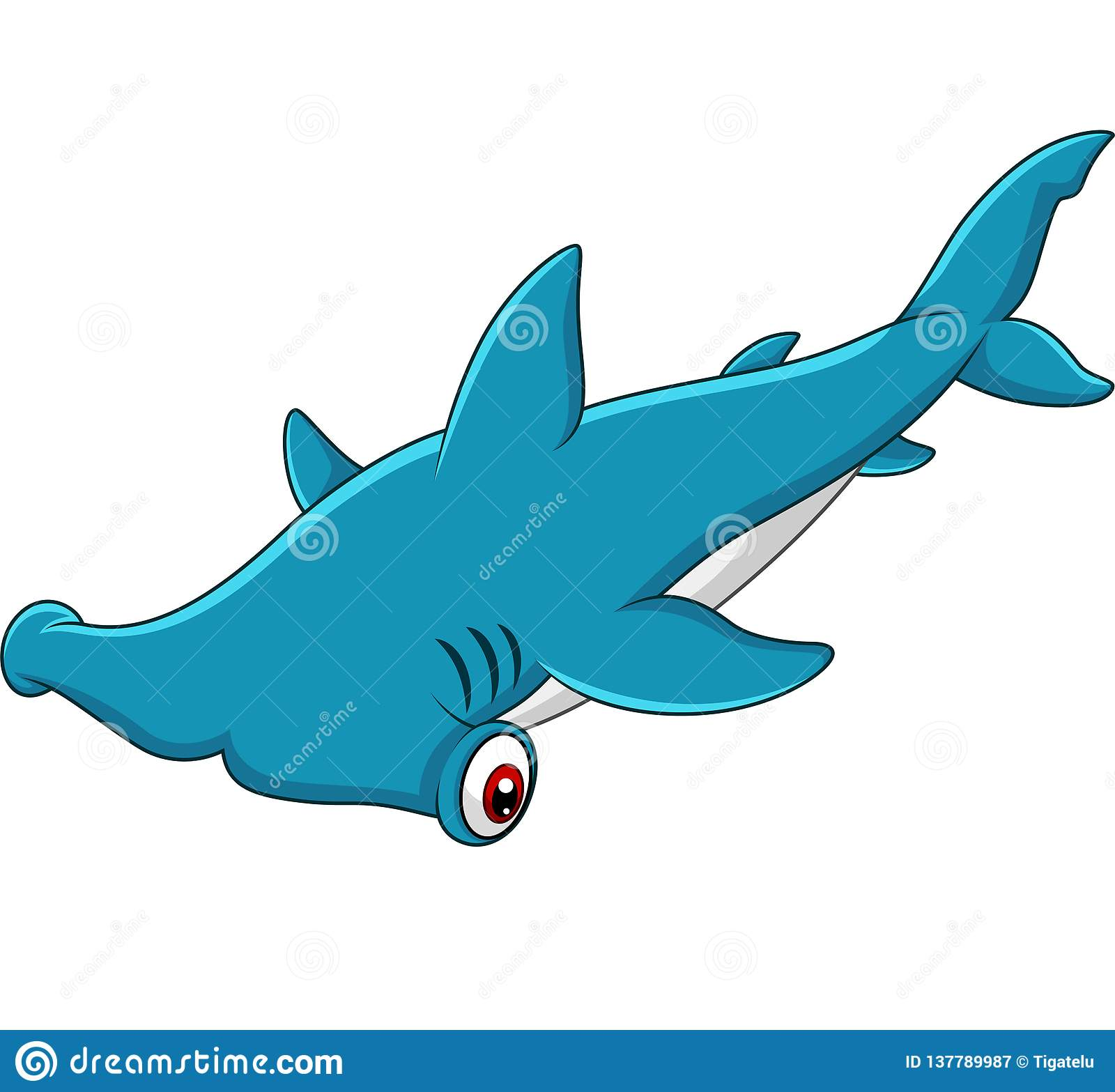 Cartoon Hammerhead Shark Stock Vector Illustration Of