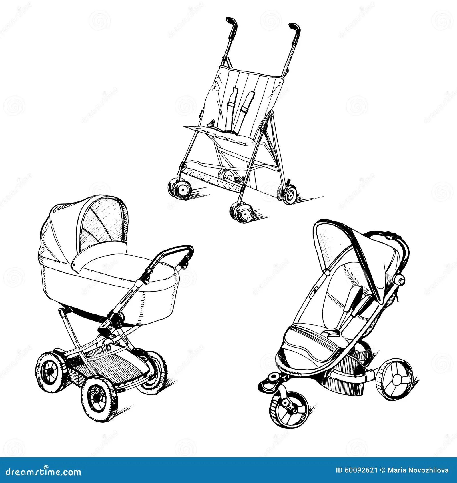 Illustration Of Children Strollers Stock Vector
