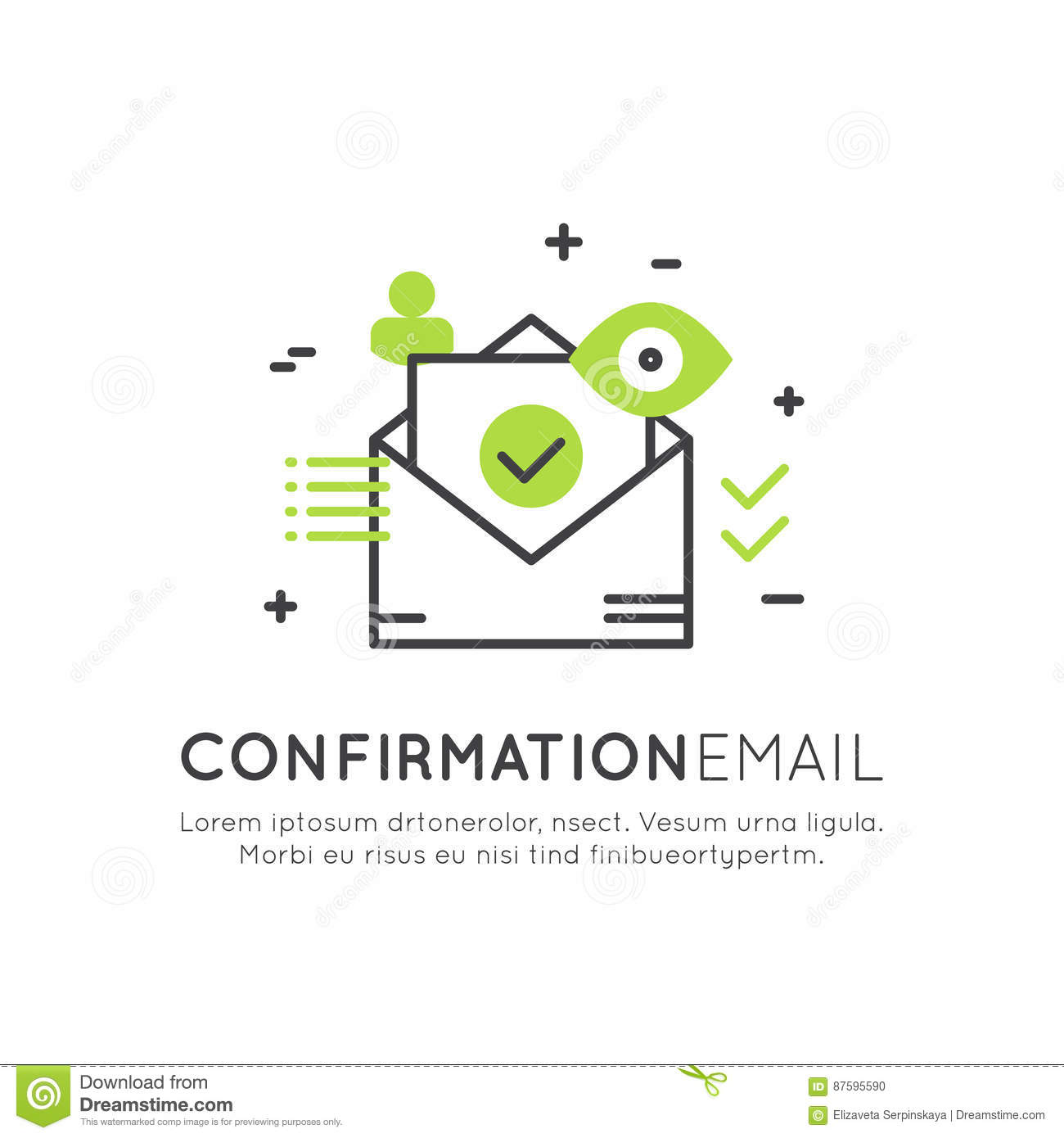 Illustration Of Confirmation Email Notification Or Push