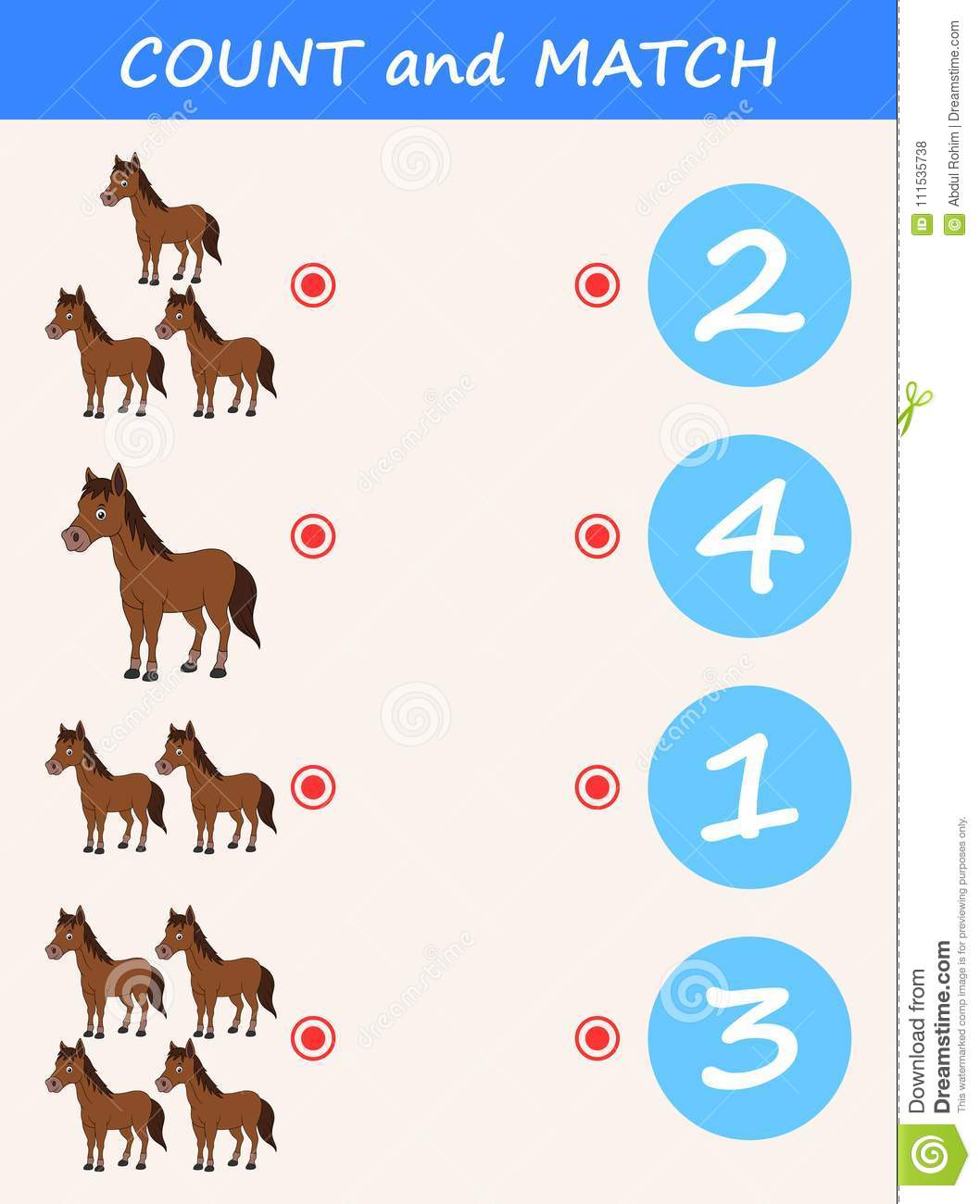 Count And Match Horse Cartoon Math Educational Game For