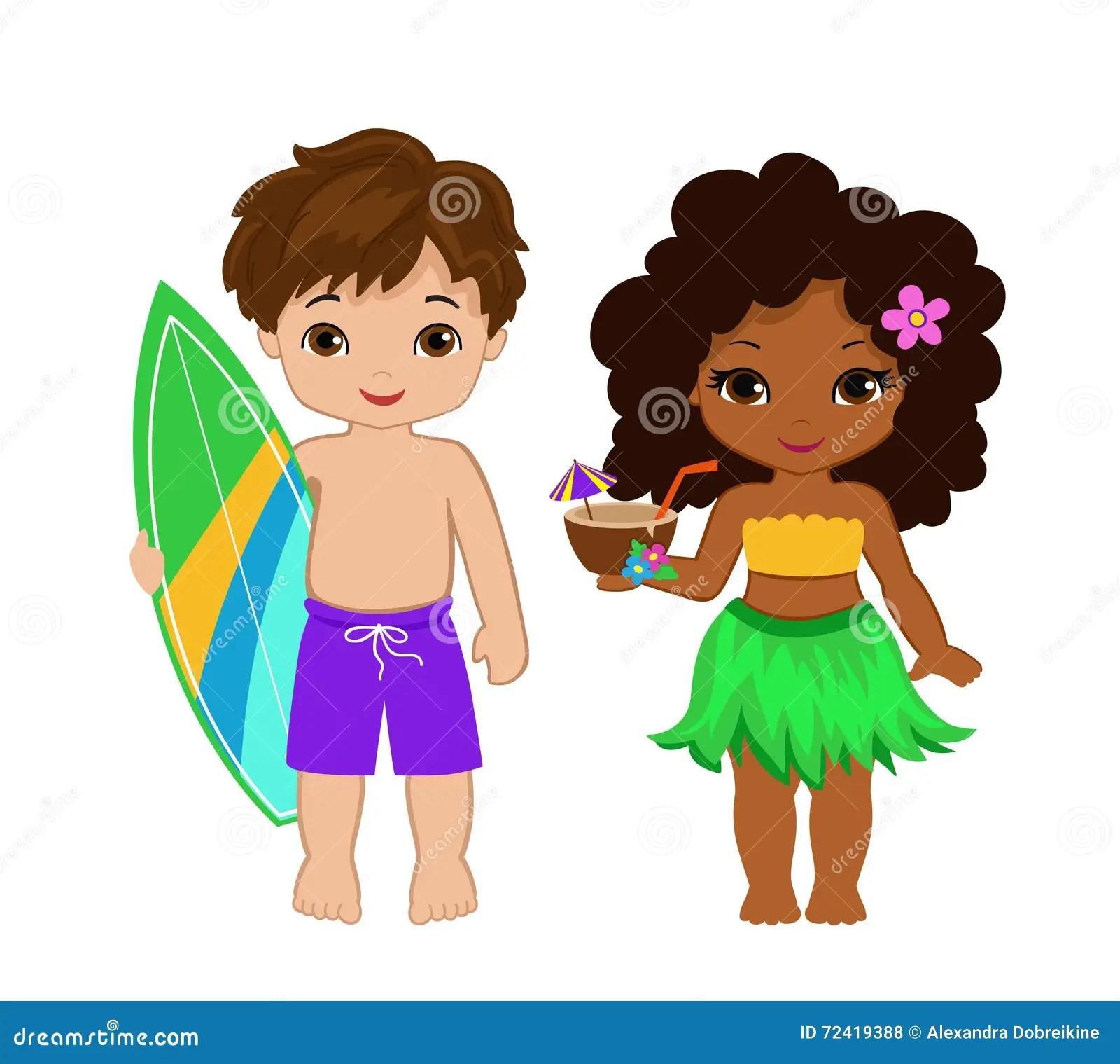 Illustration Of Cute Boy With Surfboard And Hawaiian Girl