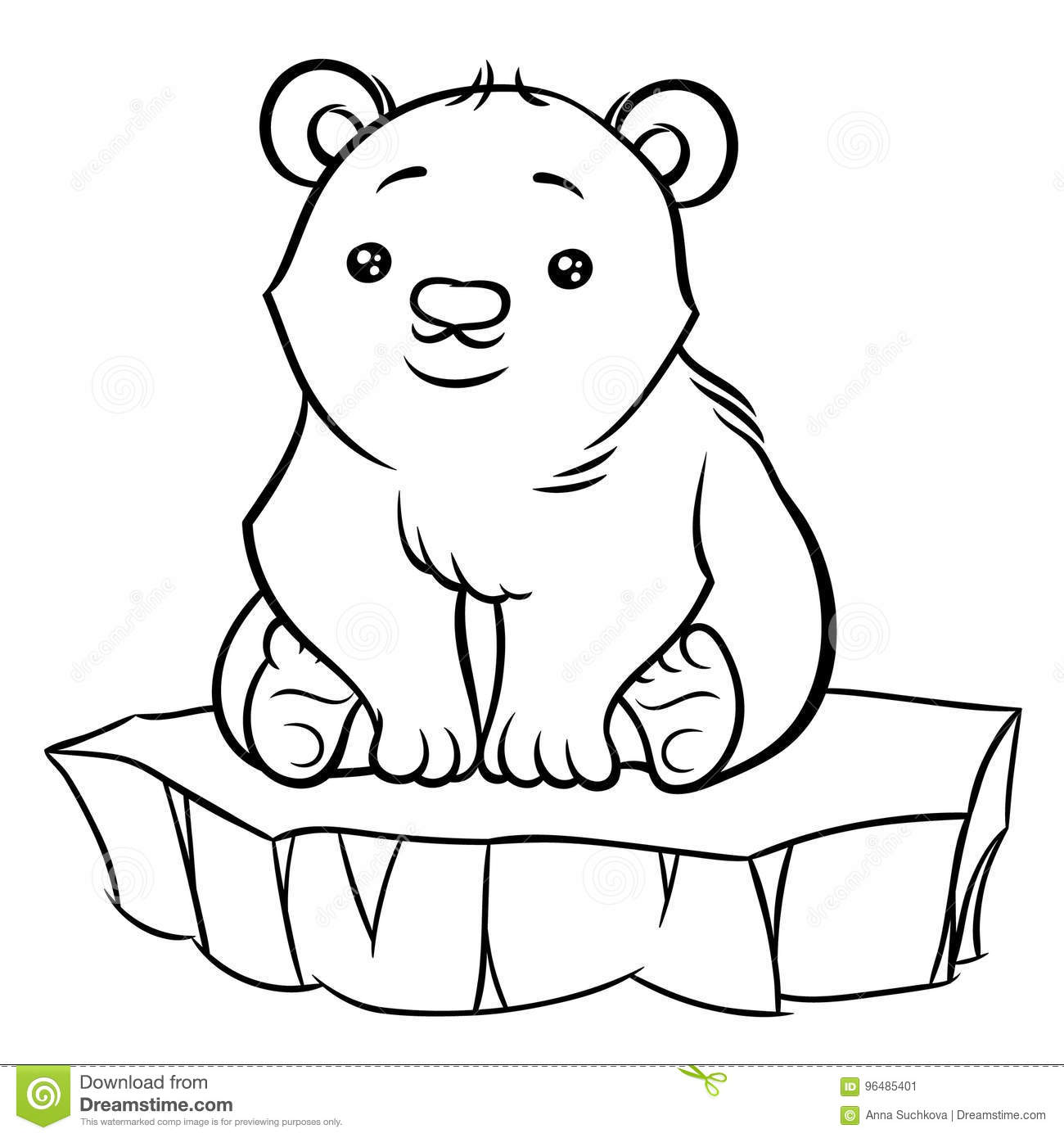 Illustration Of Cute Cartoon Baby Polar Bear Stock Vector